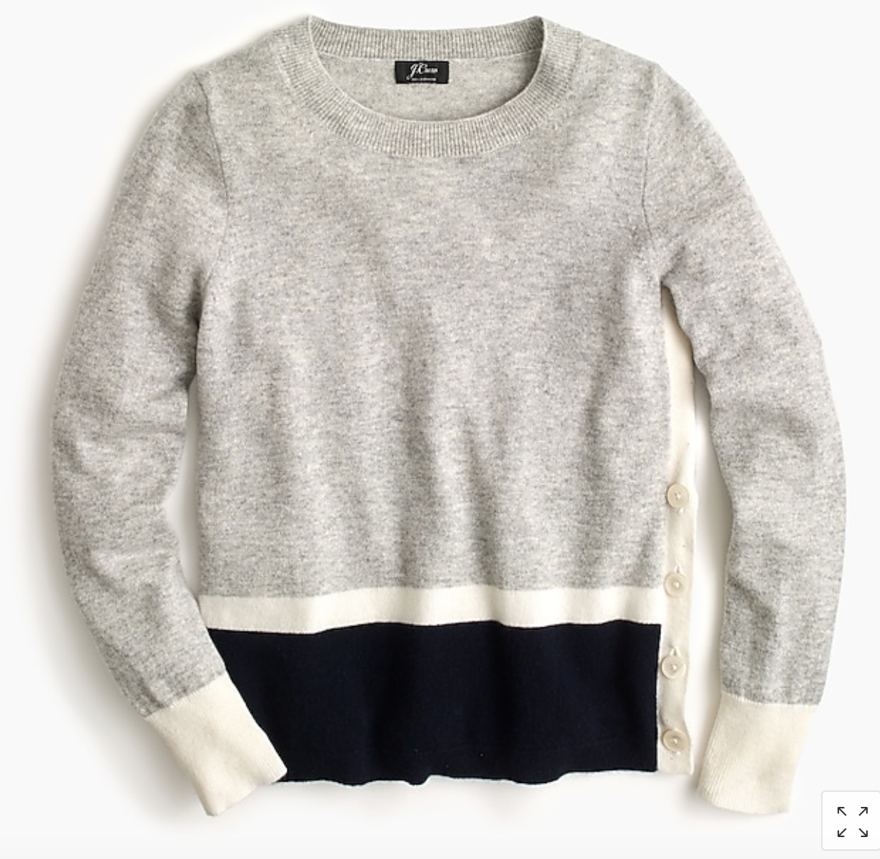 Cashmere Striped Sweater with Buttons