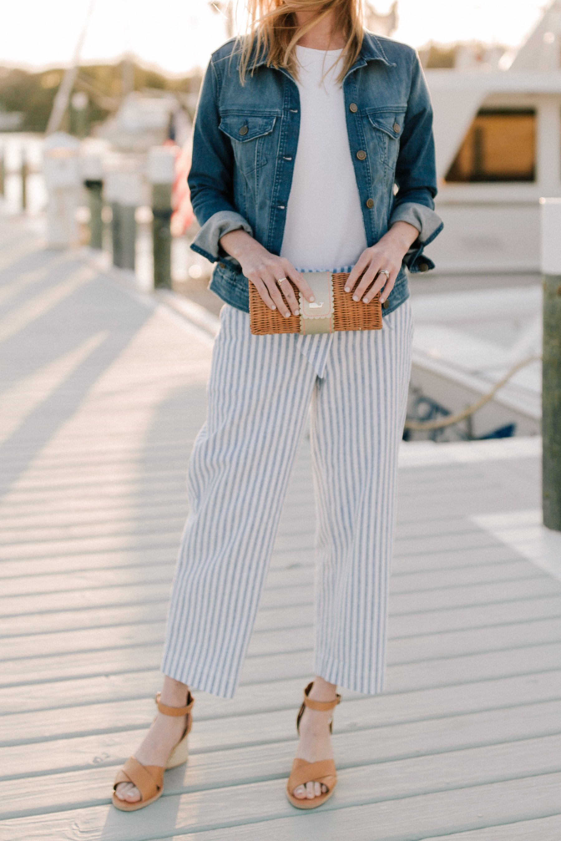 A spring look: Denim Jacket /  Striped Pants / white tee