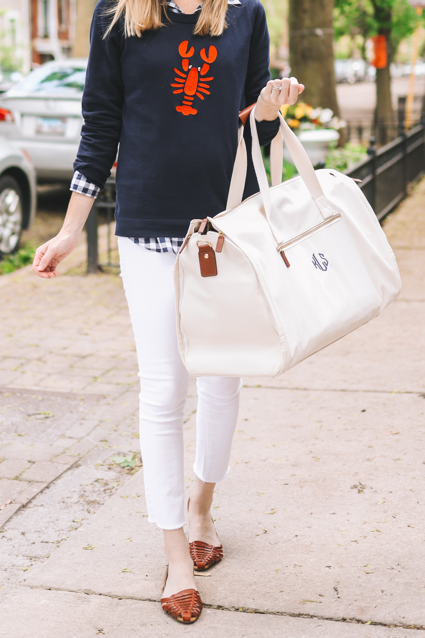 Lobster sweater and white denim pants outfit
