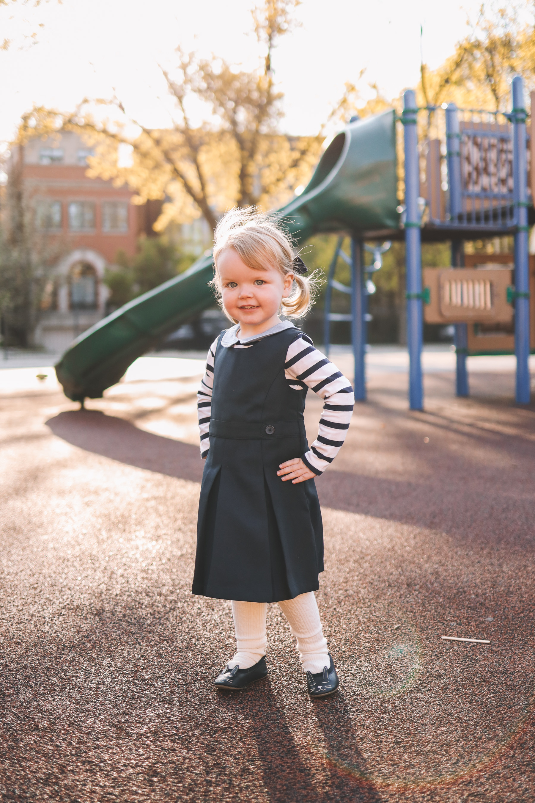 Outfit details: Emma's Bunny Shoes, Navy Jumper, Tights and Peter Pan Shirt