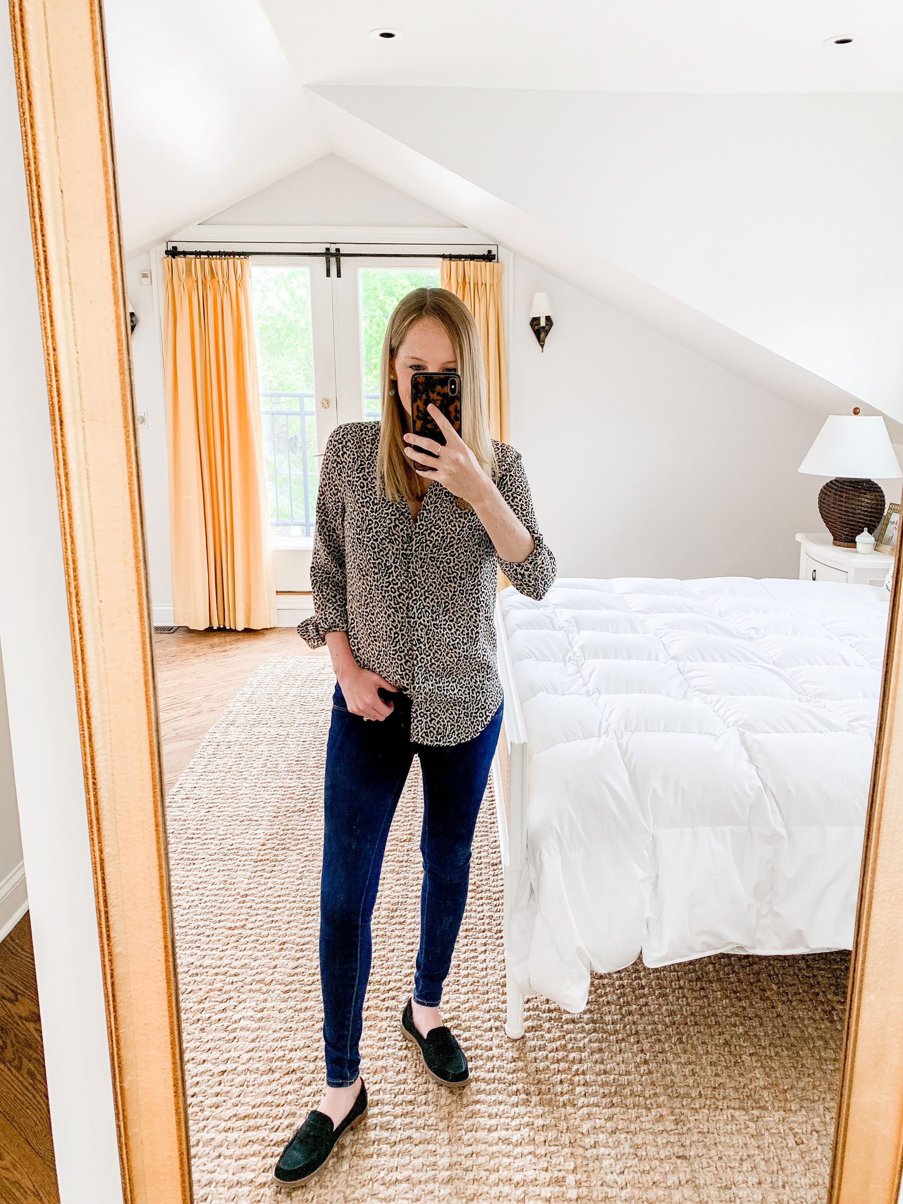 Kelly's outfit: Old Navy Rockstar Jeans and Leopard button-down shirt