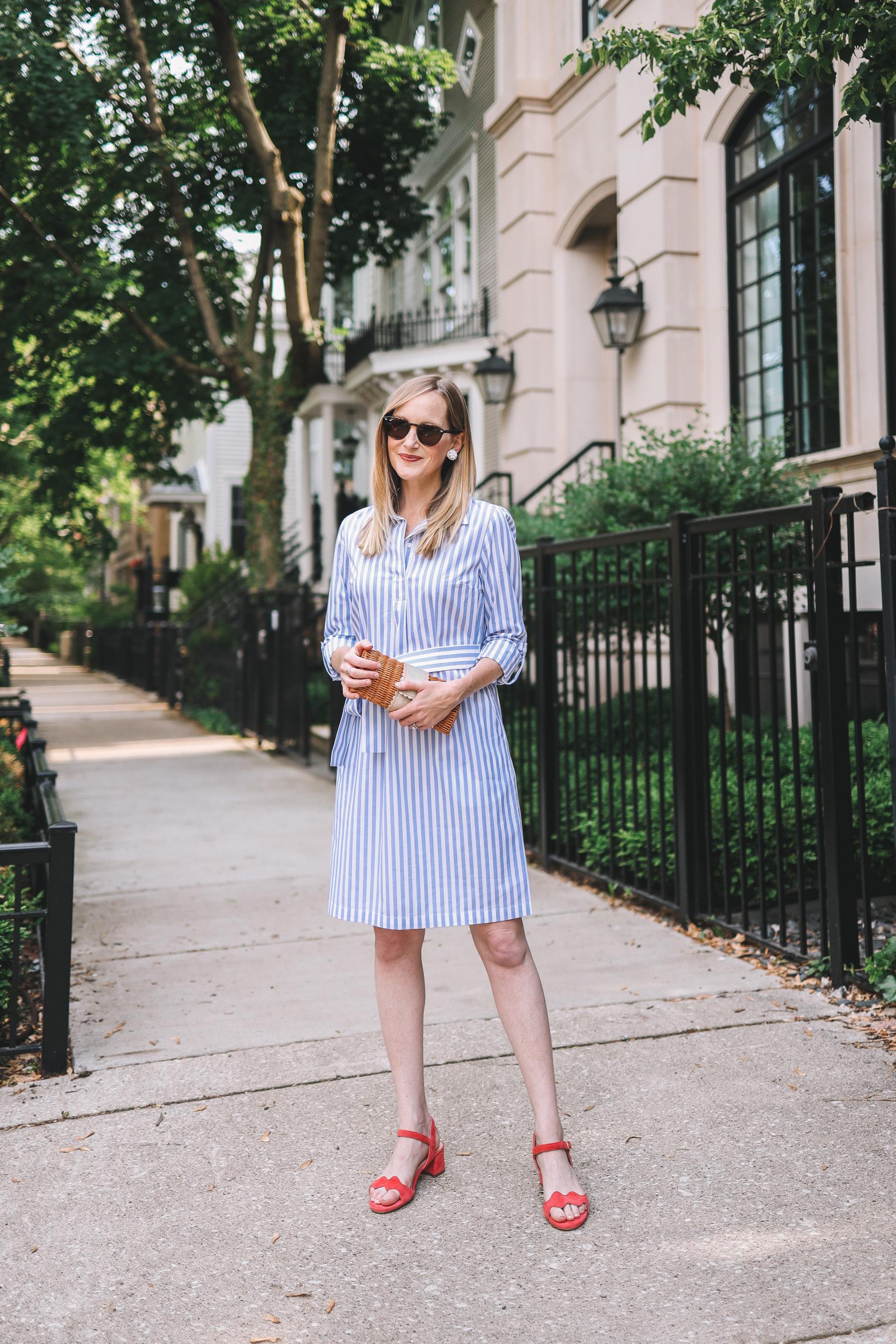 Preppy Little Striped Shirtdress
