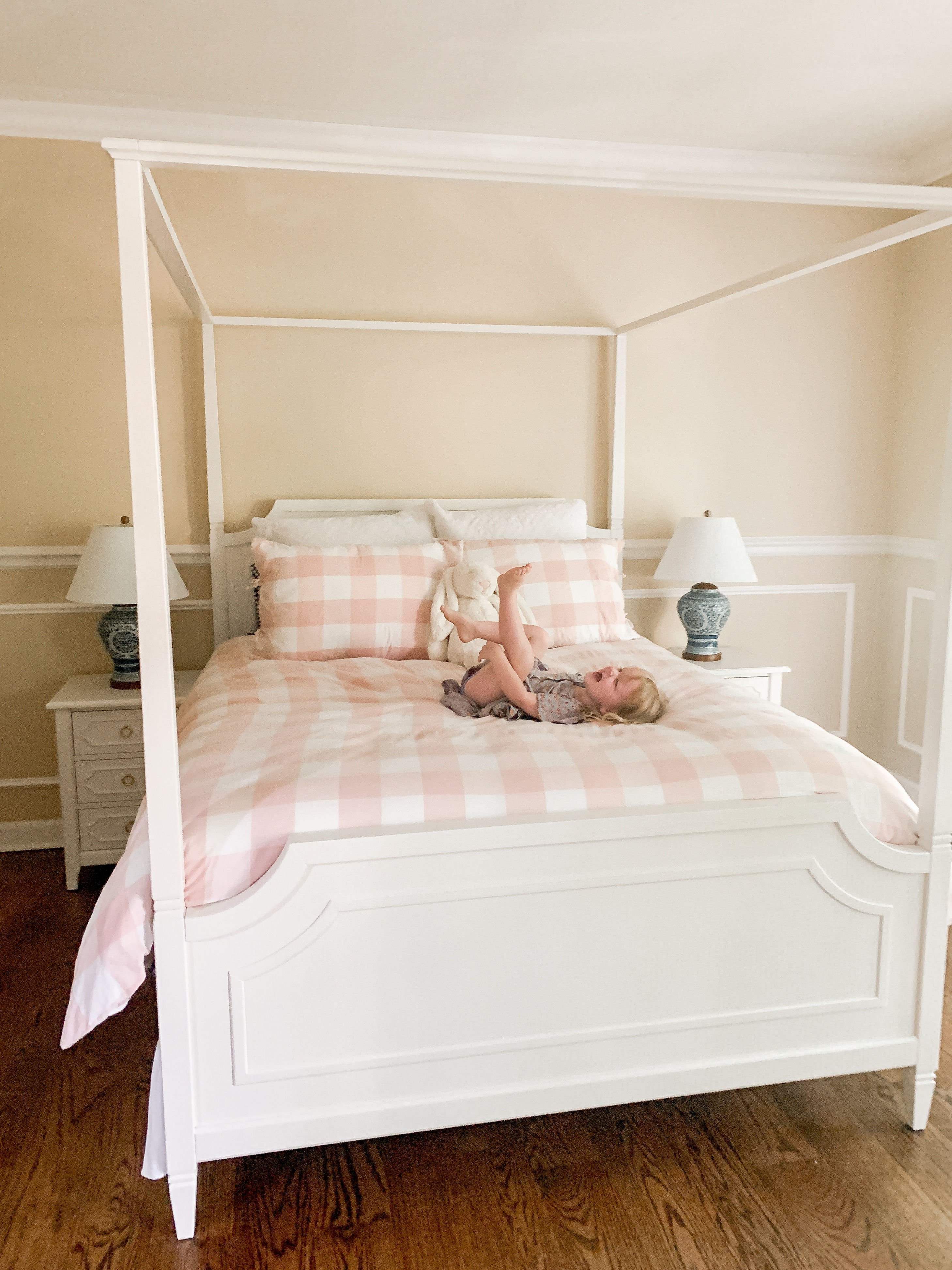 gingham pink and white comforter