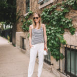Navy Striped Scalloped Camisole