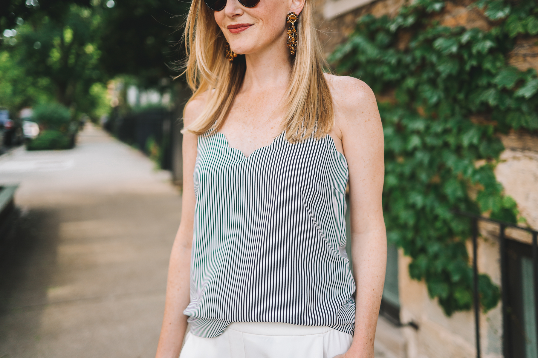 Navy Striped Scalloped Camisole J. Crew Factory