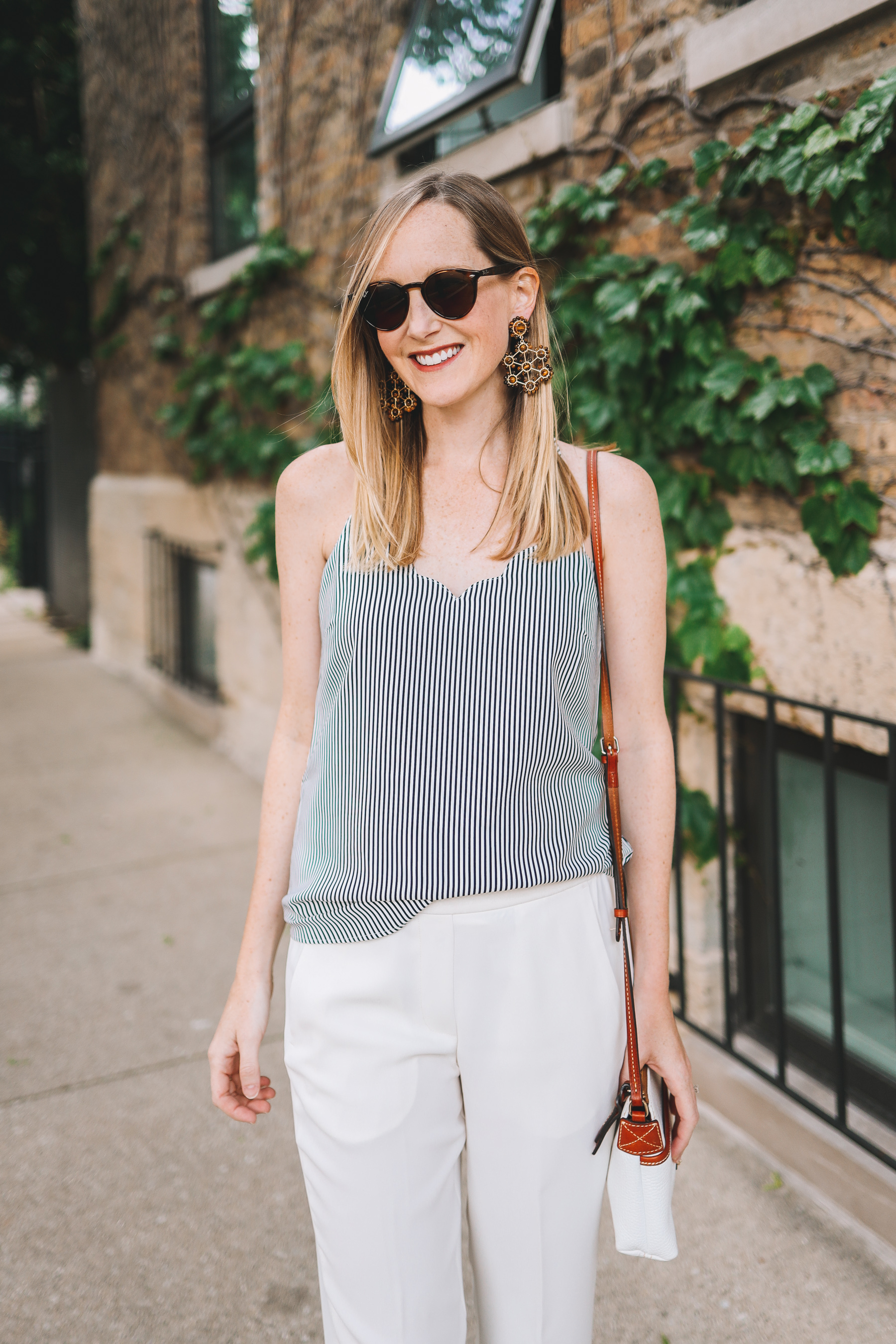 Navy Striped Scalloped Camisole J. Crew Factory featured