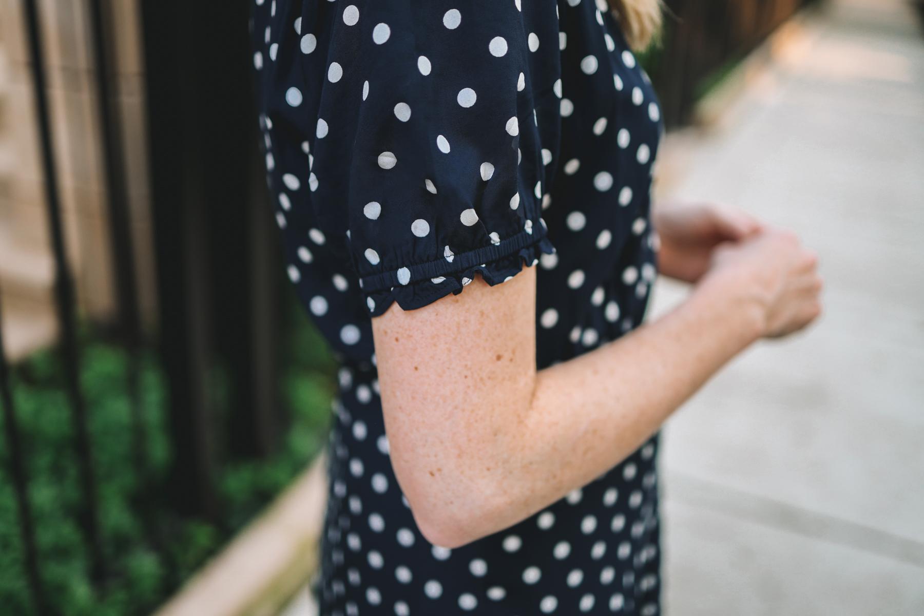 navy polka dot dress from J.Crew