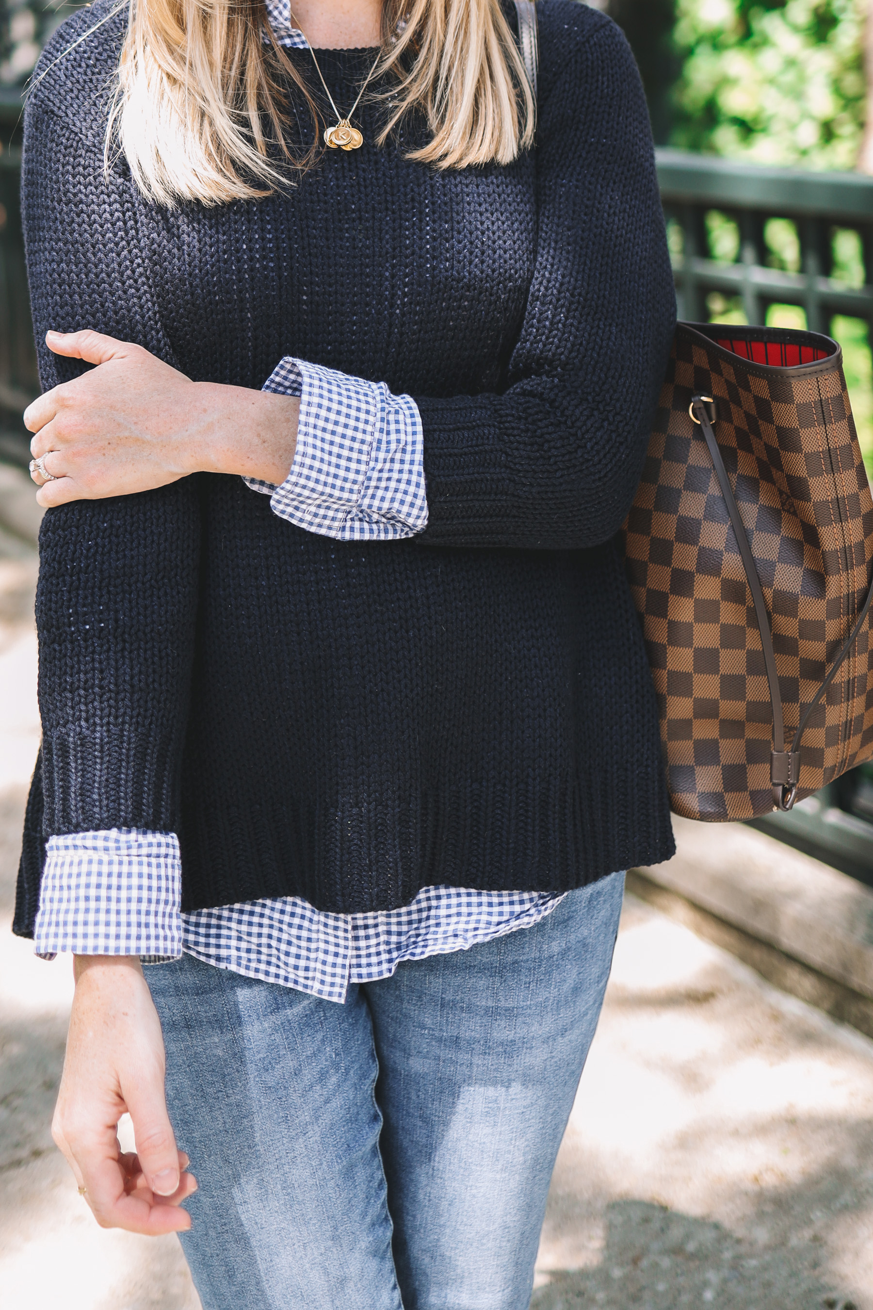 Kely's outfit details: Maternity Jeans / Tuckernuck Bow Sweater / J.McLaughlin Gingham Button-Down / Louis Vuitton Neverfull GM