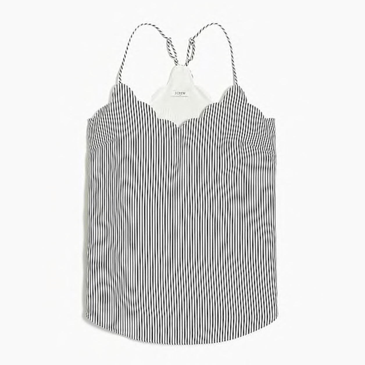 Navy Striped Scalloped Cami