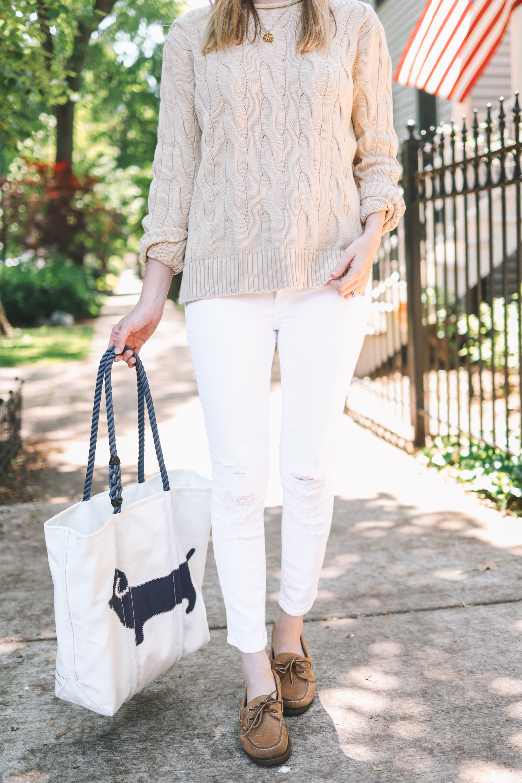 Dachshund Tote Bag - Sea Bags / Ralph Lauren Boxy Cable Knit Sweater / Sperry Topsiders / Maternity Jeans / Stamped Initial Necklace
