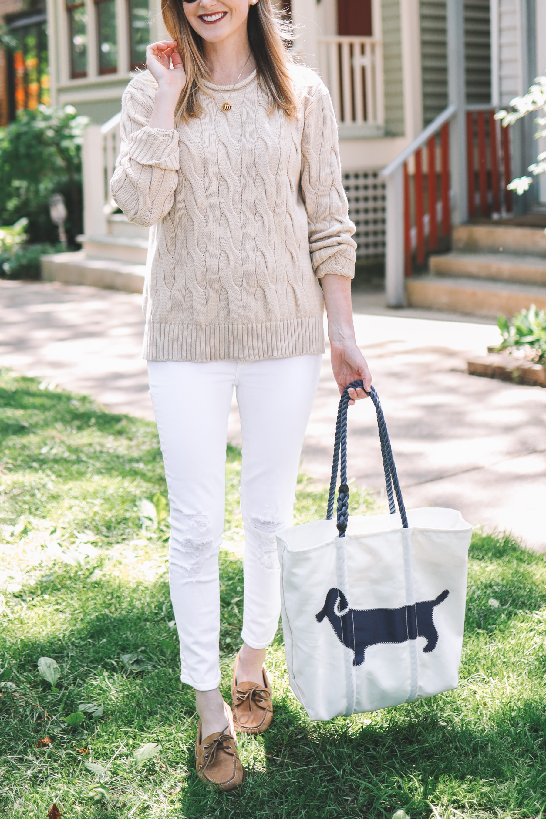 Outfit details: Dachshund Tote Bag - Sea Bags / Ralph Lauren Boxy Cable Knit Sweater / Sperry Topsiders / Maternity Jeans / Stamped Initial Necklace