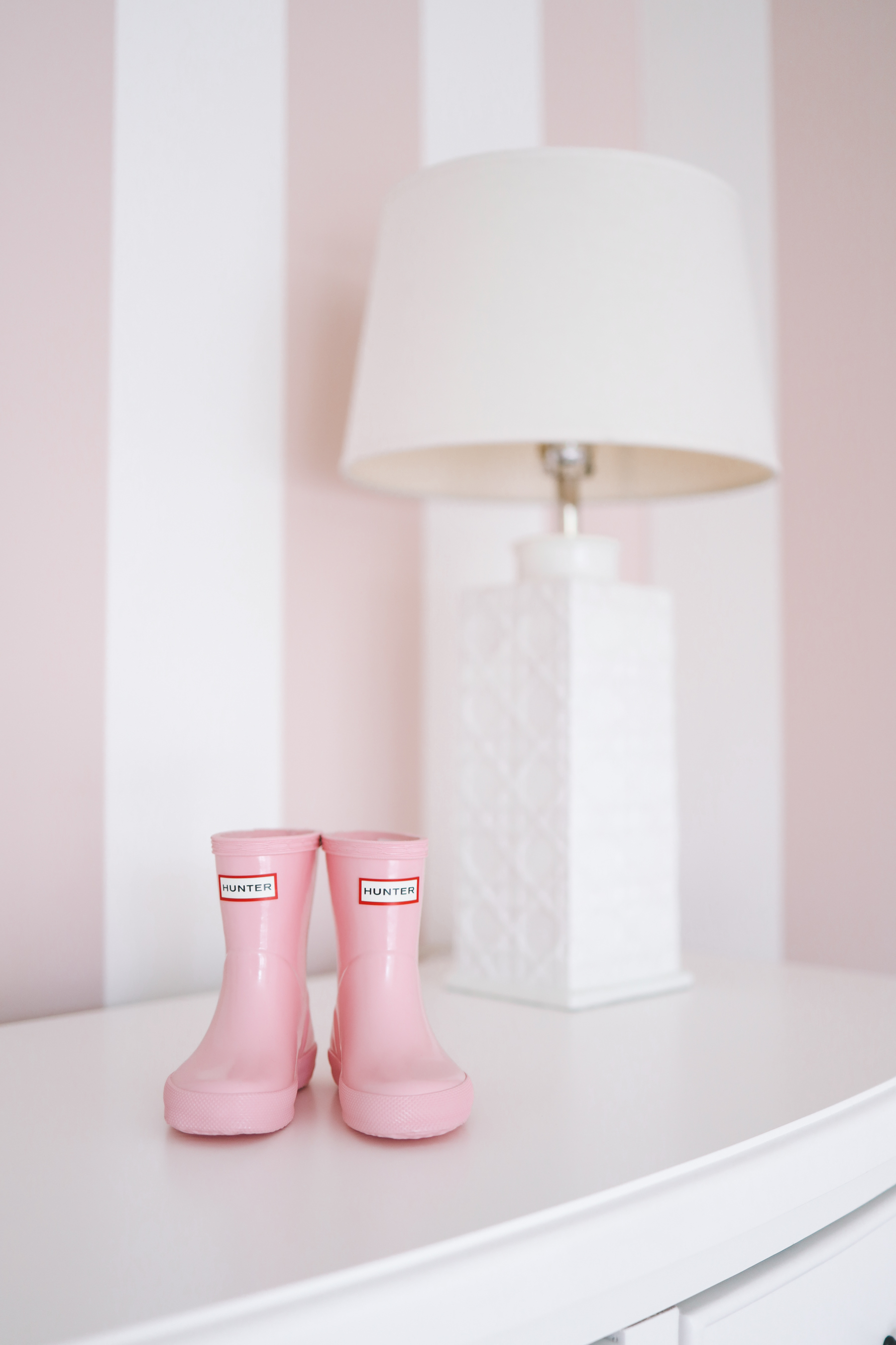 Preppy Girls Room - Pink Hunter rain-boots on a white dresser