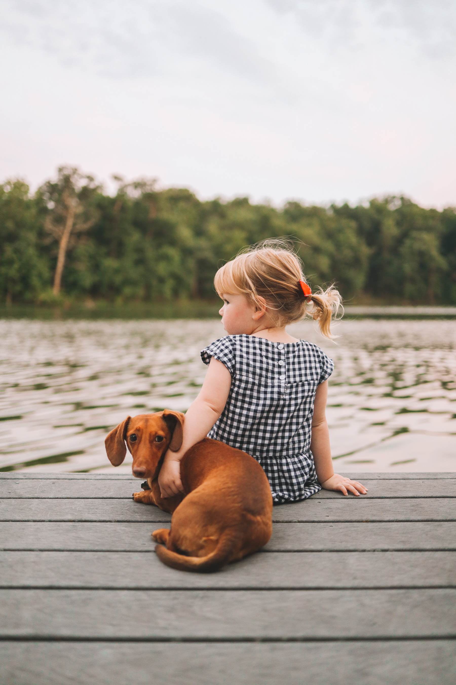 a dog and a girl and a lake