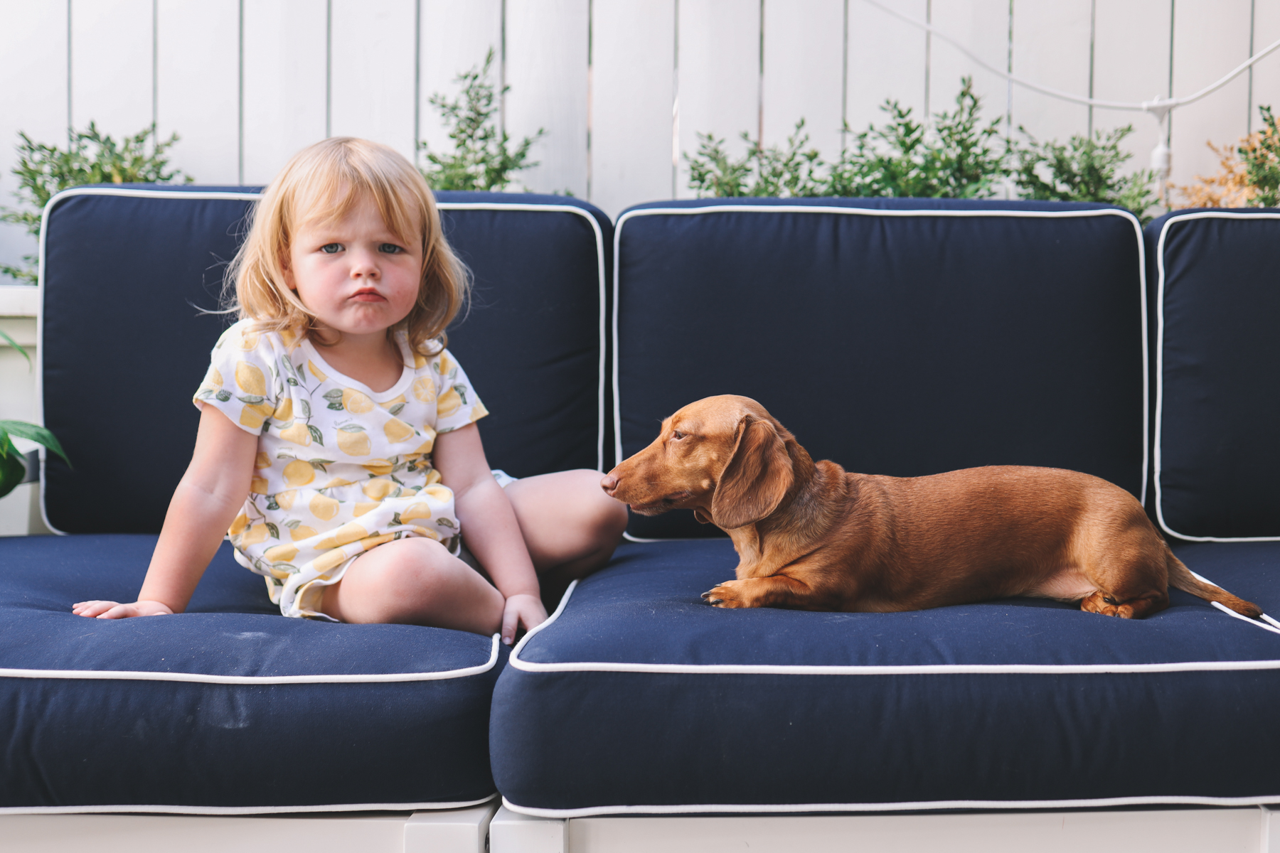 a girl and a dog on a sofa