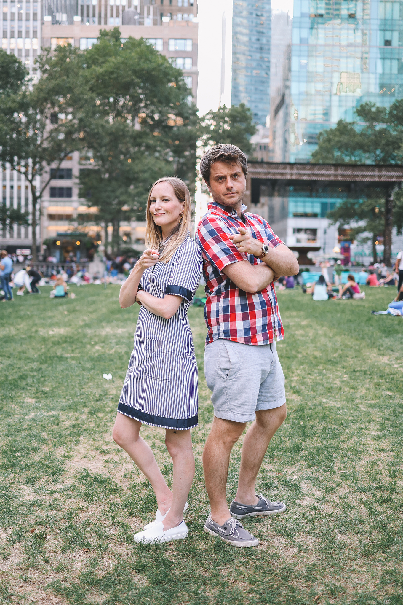 Kelly in an easy shirtdress and her husband in a plaid shirt