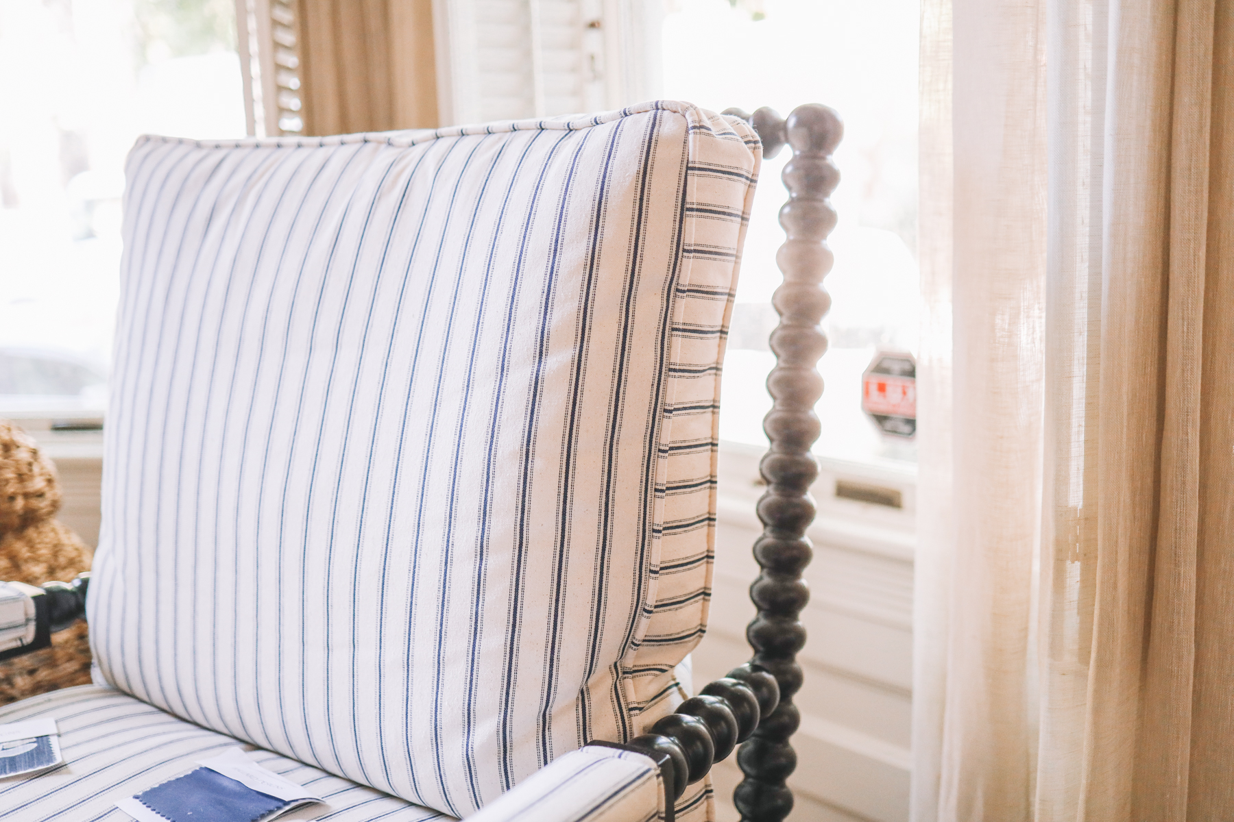 a striped seat