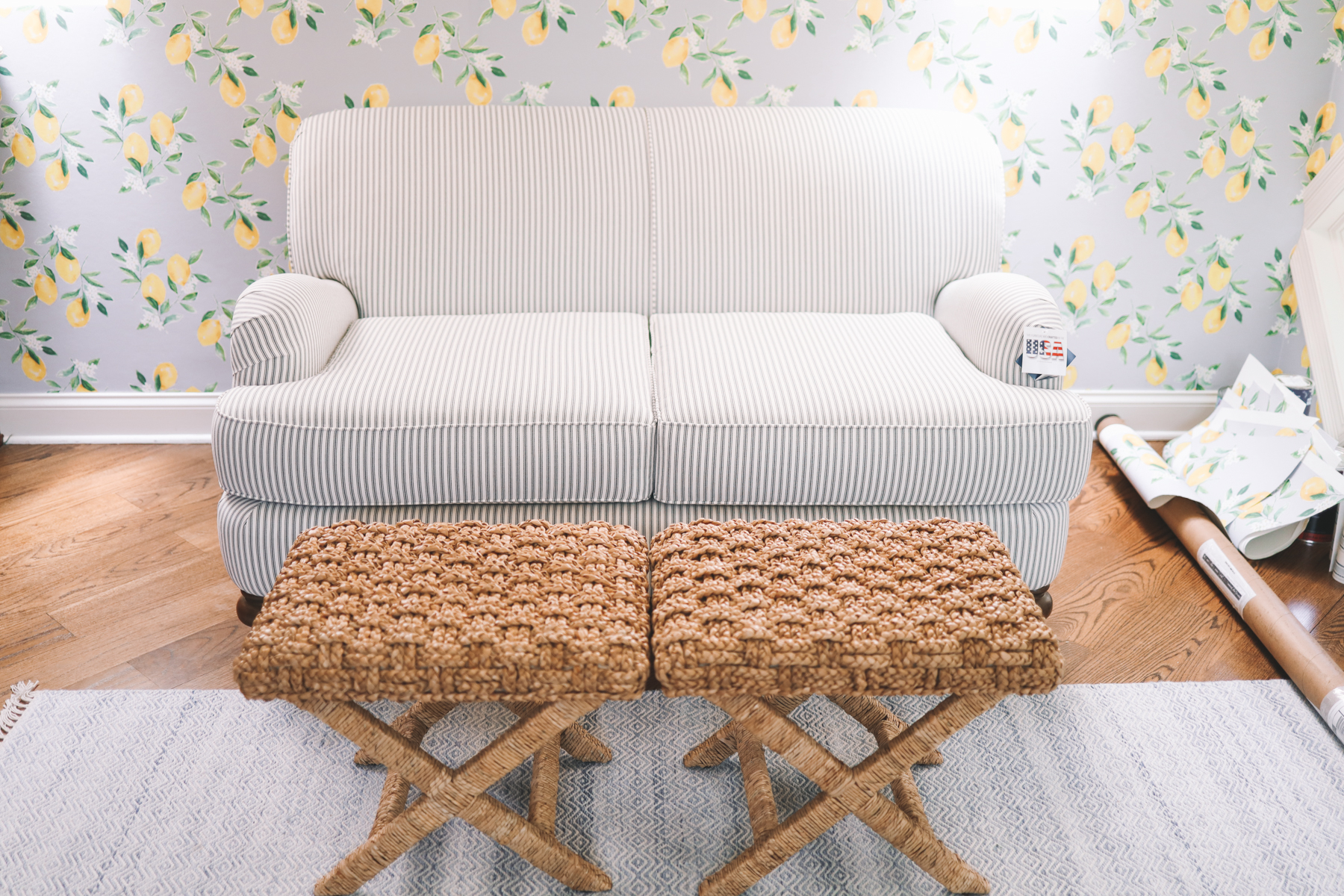A shot of the custom striped loveseat for under $600