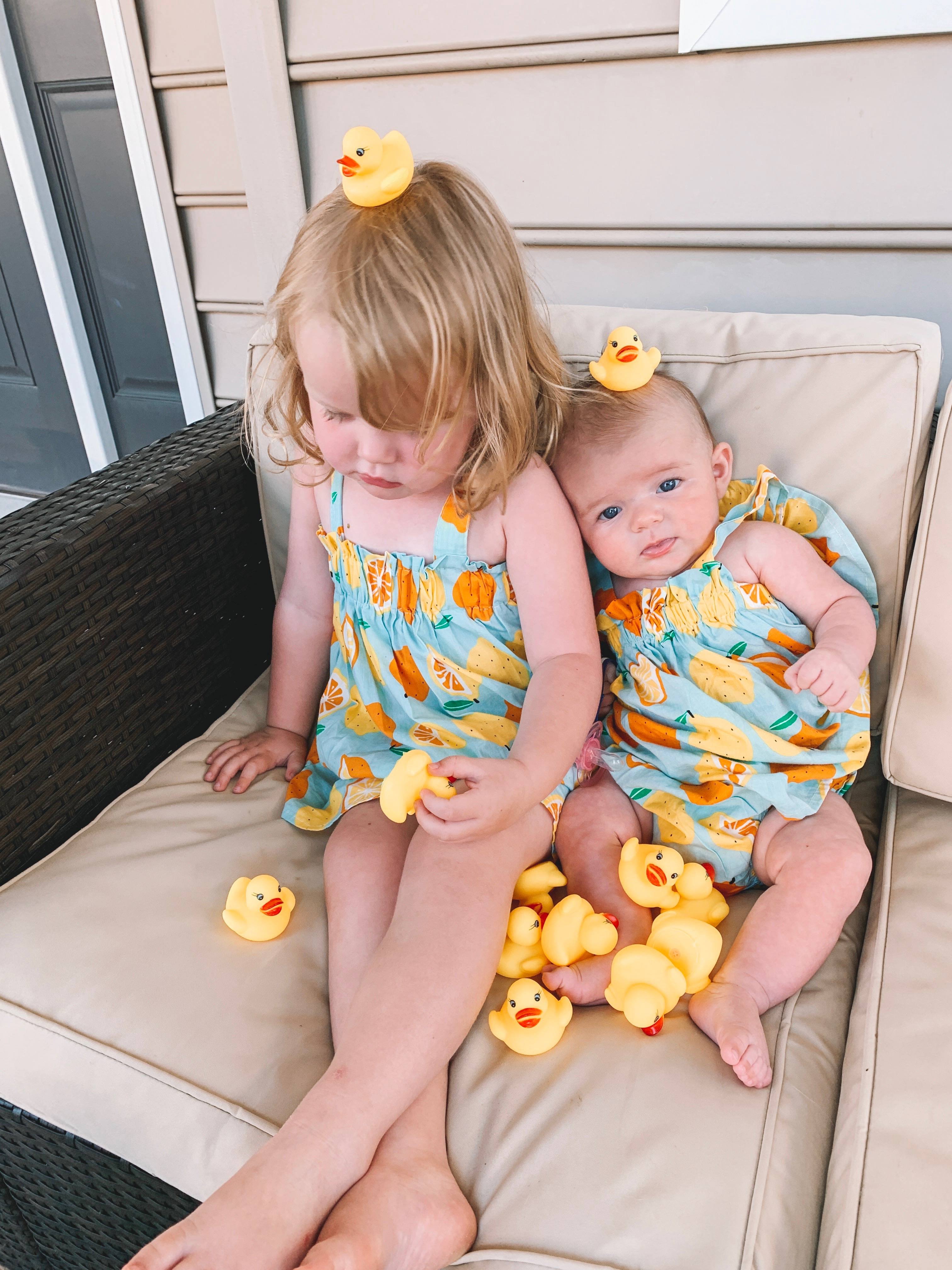 Rubber duckies cover Lucy and Emma