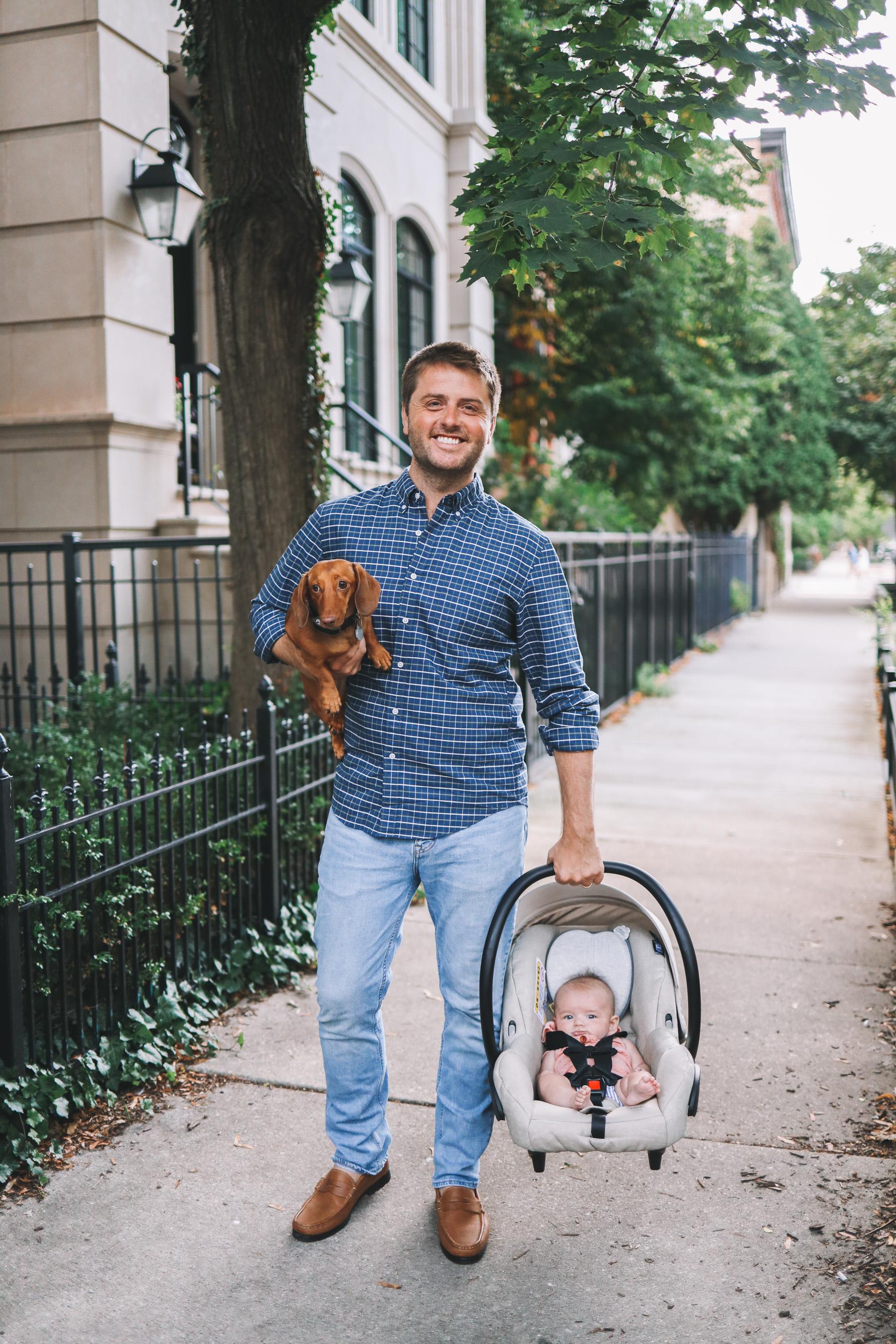 A dad, a dog, a baby