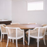 Pine Dining Table with white Cane Chairs