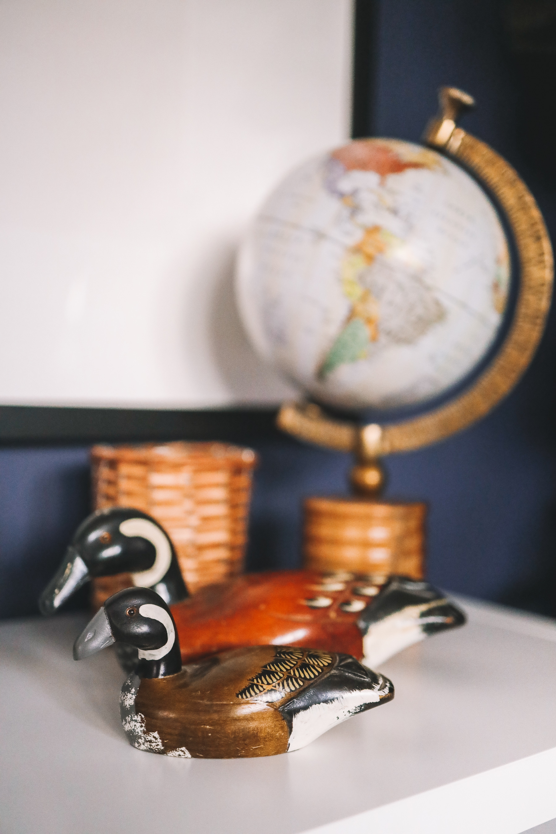 ducks and a globe