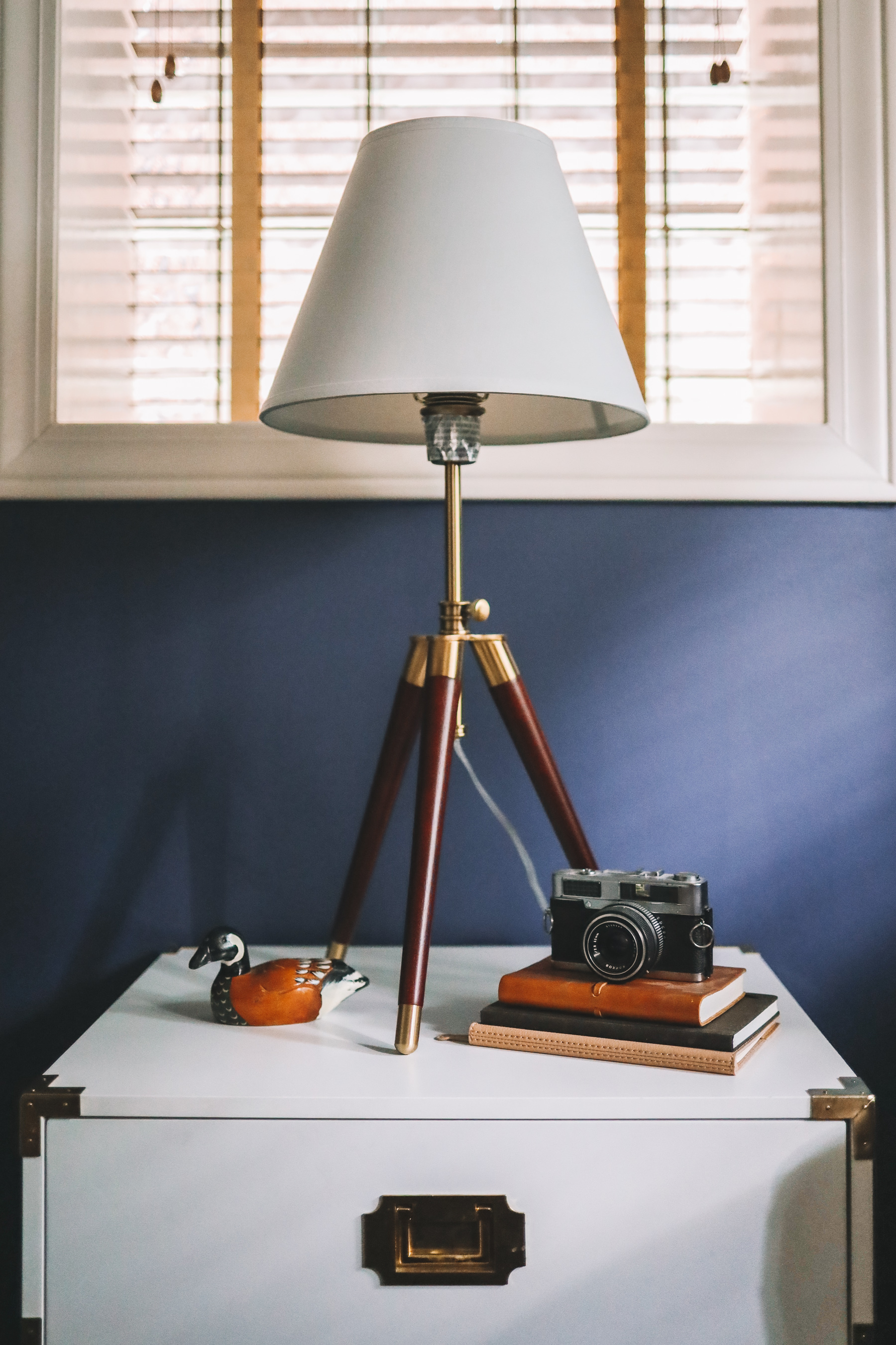 navy office and a lamp and a window