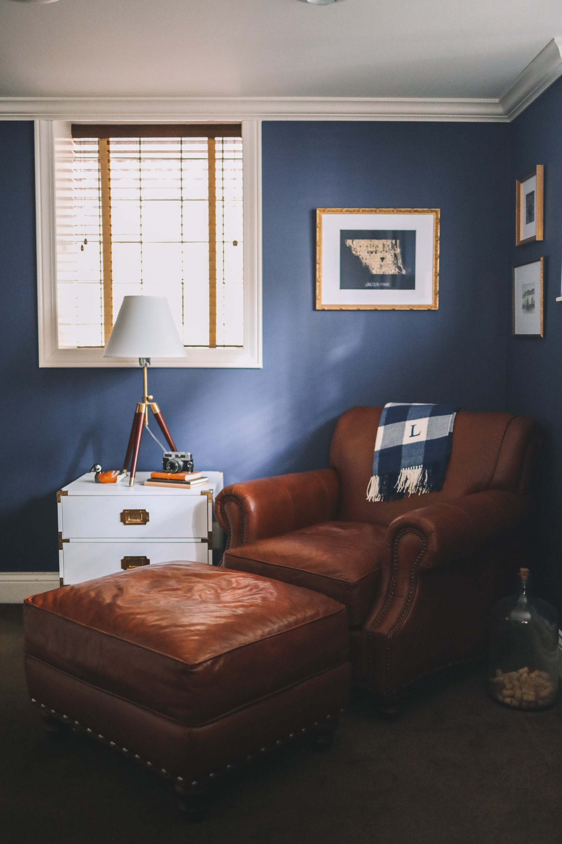 navy office and a leather sofa