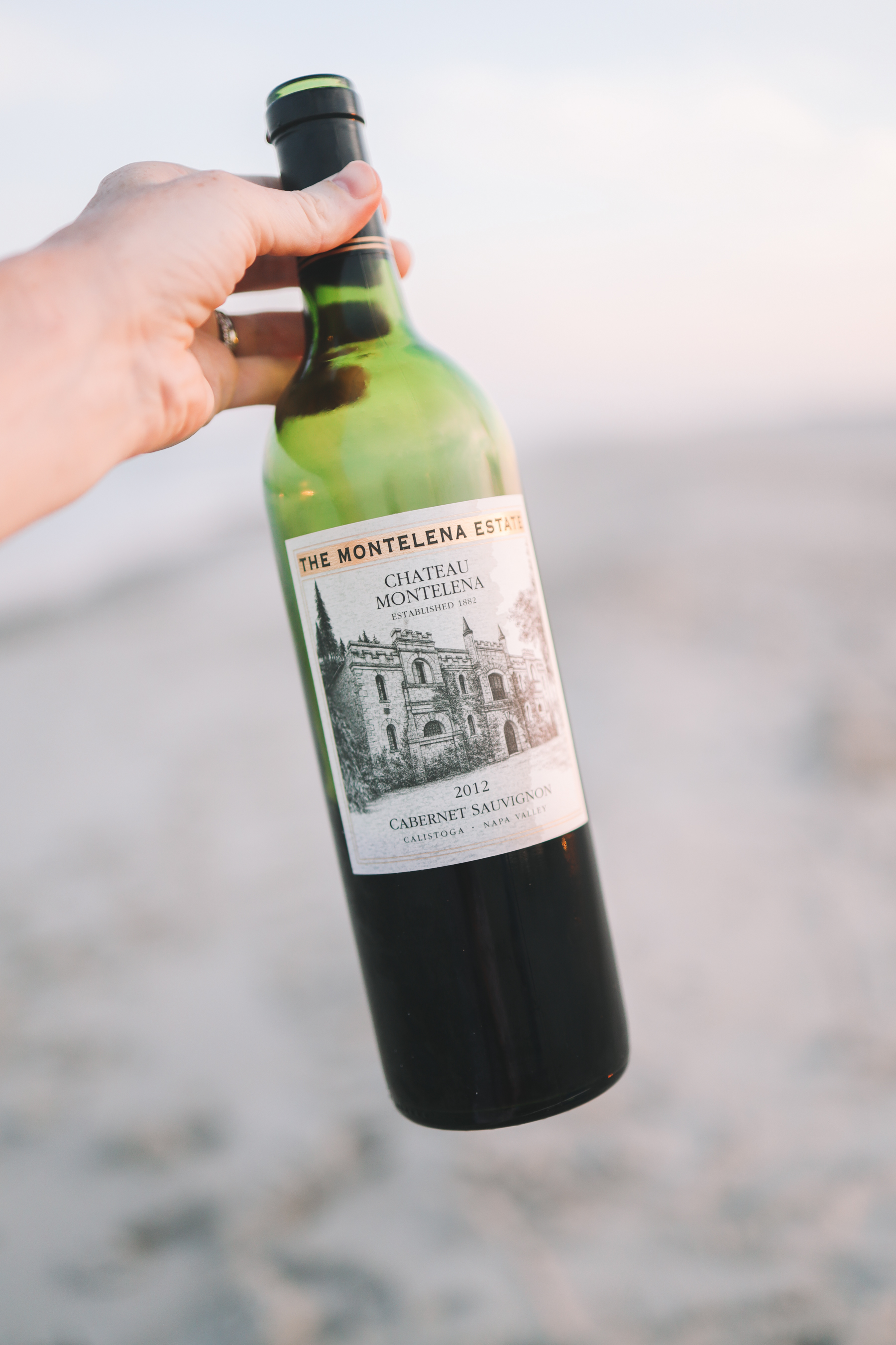 A bottle of wine on the Jersey beach