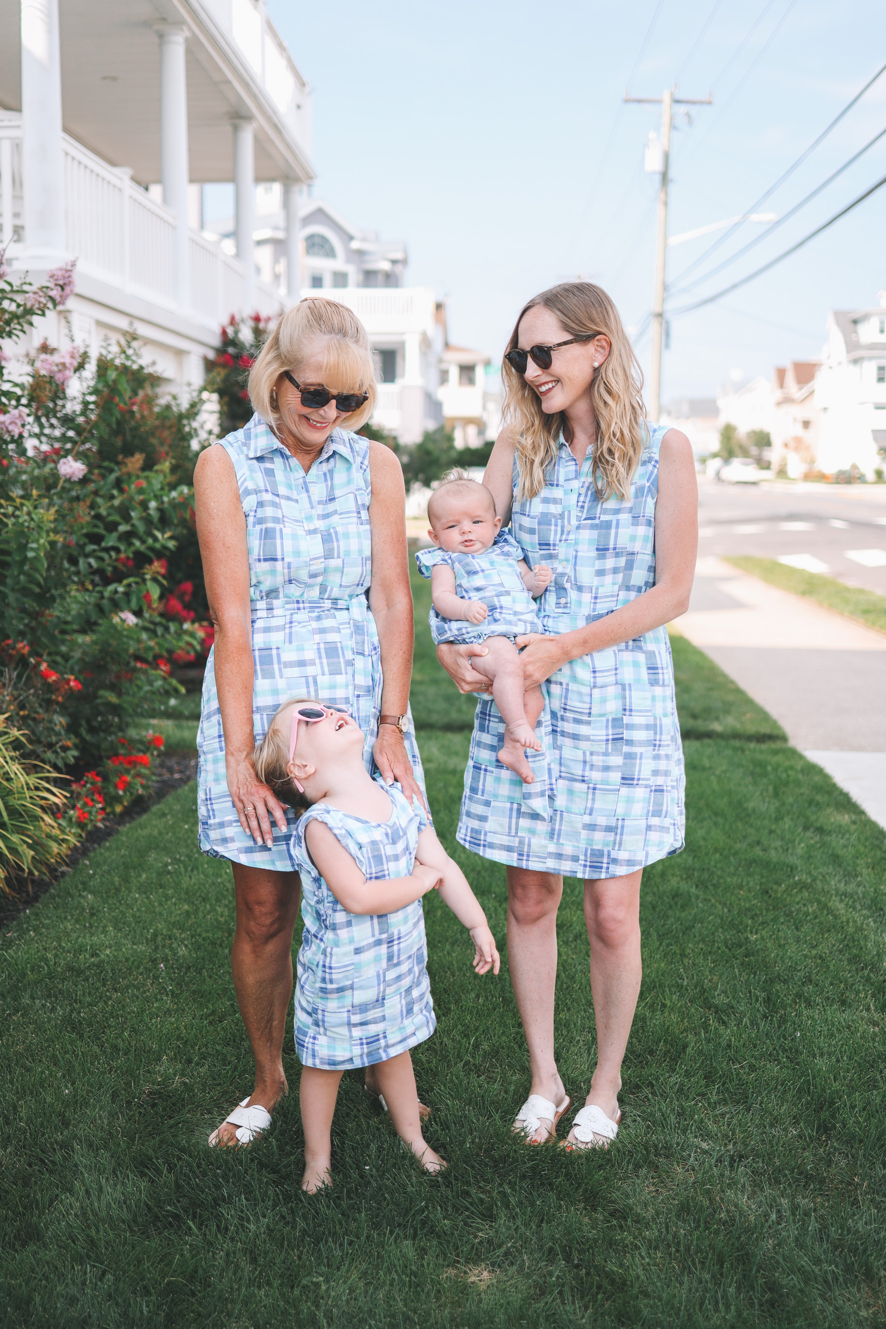 The Larkin girls pose in matchy-matchy madras