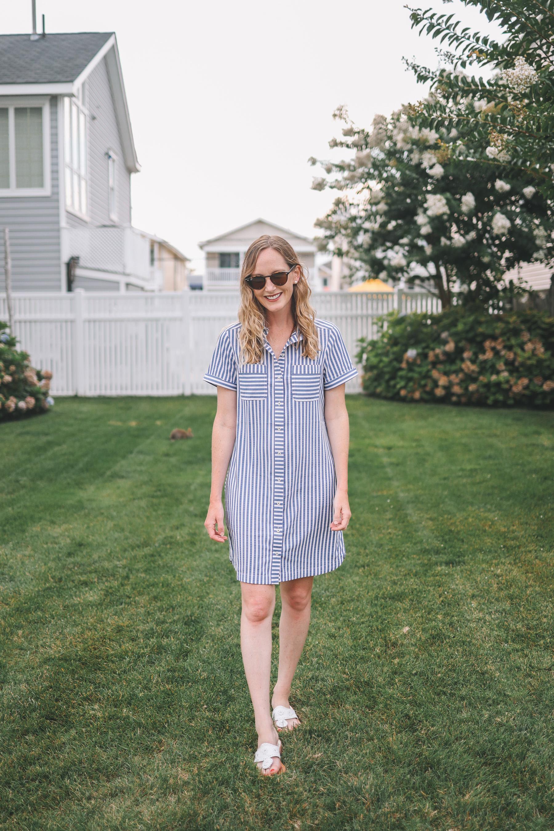 a seesucker shirt dress