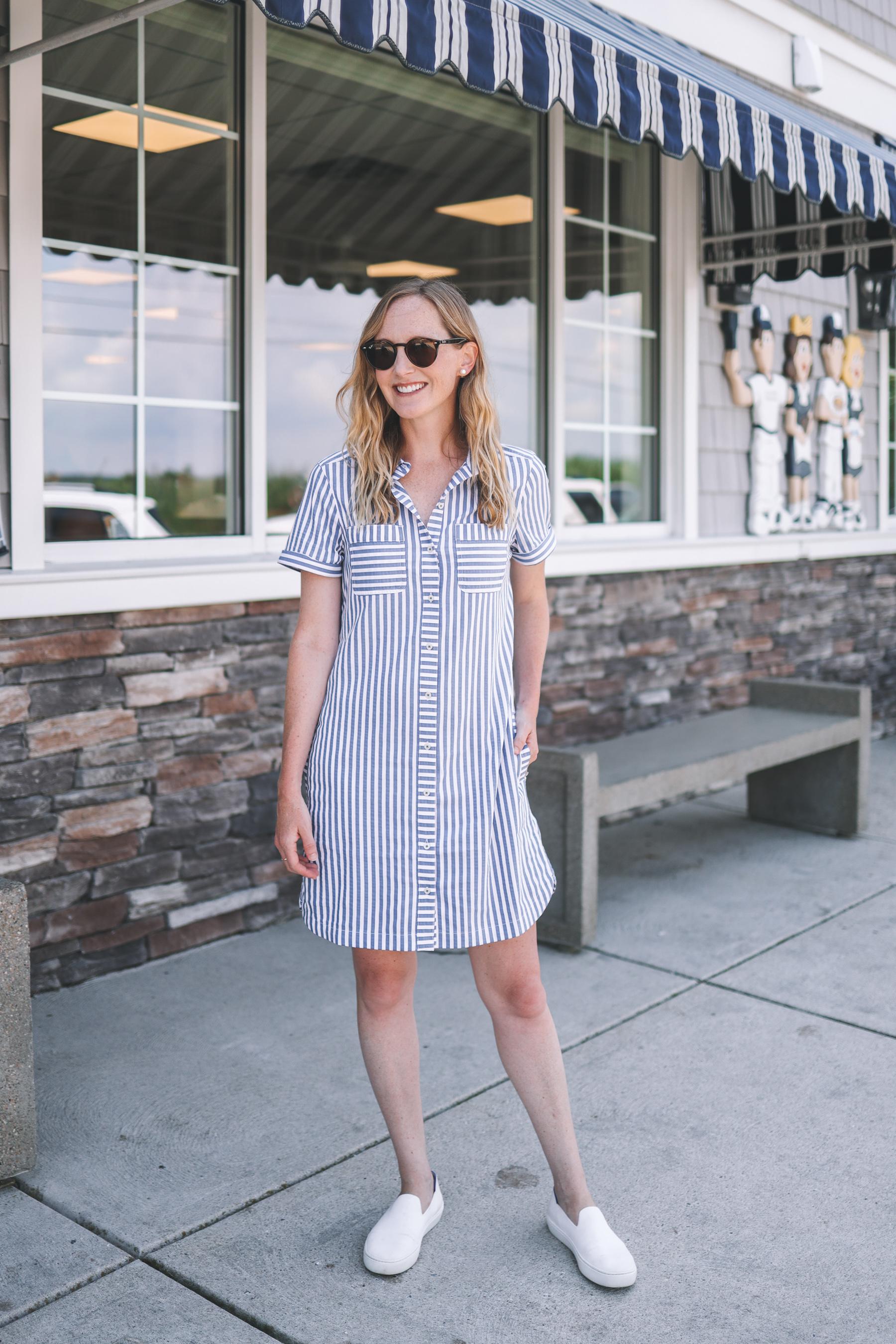 kelly wears a seesucker shirt dress