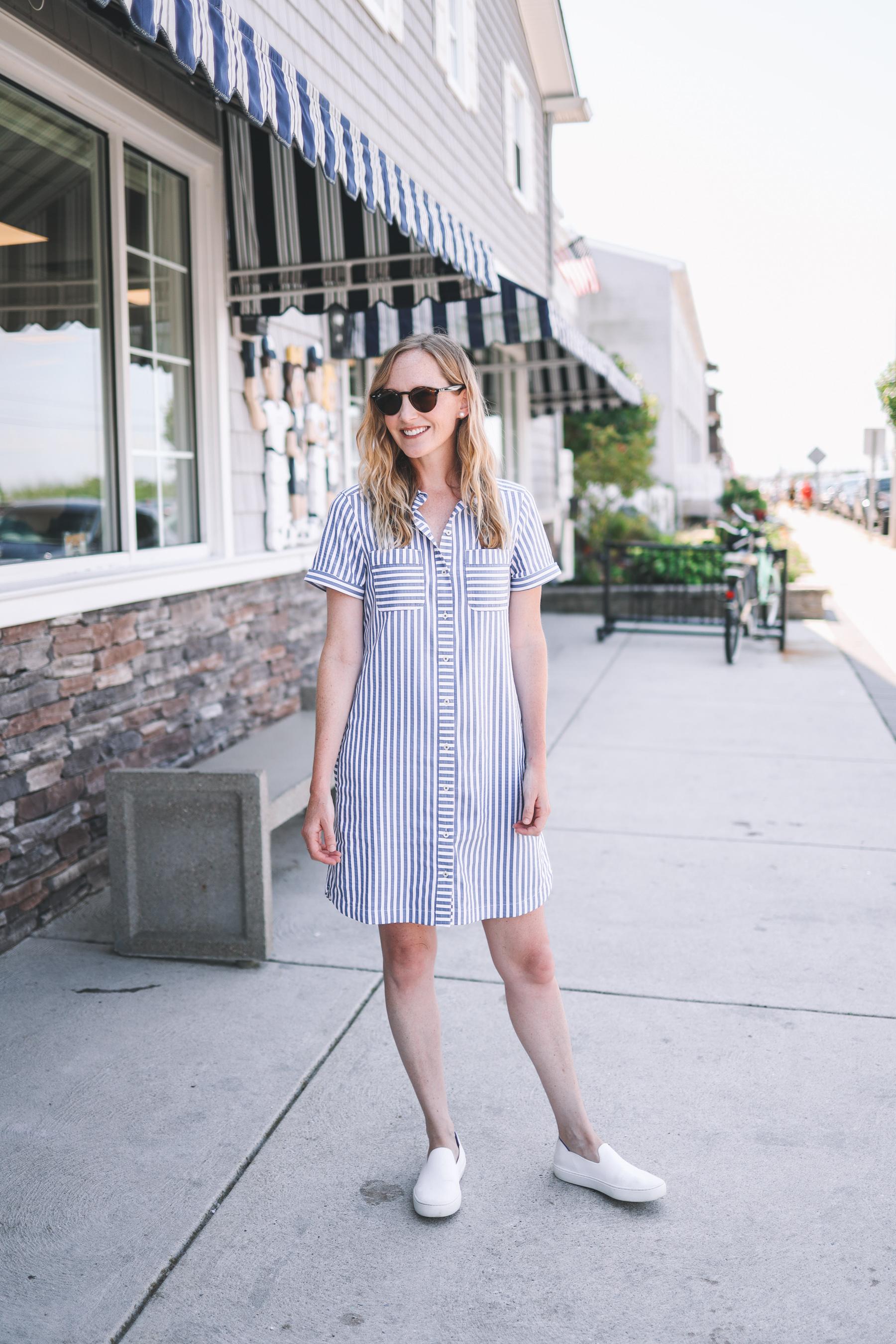 kelly in a seesucker shirt dress in the street