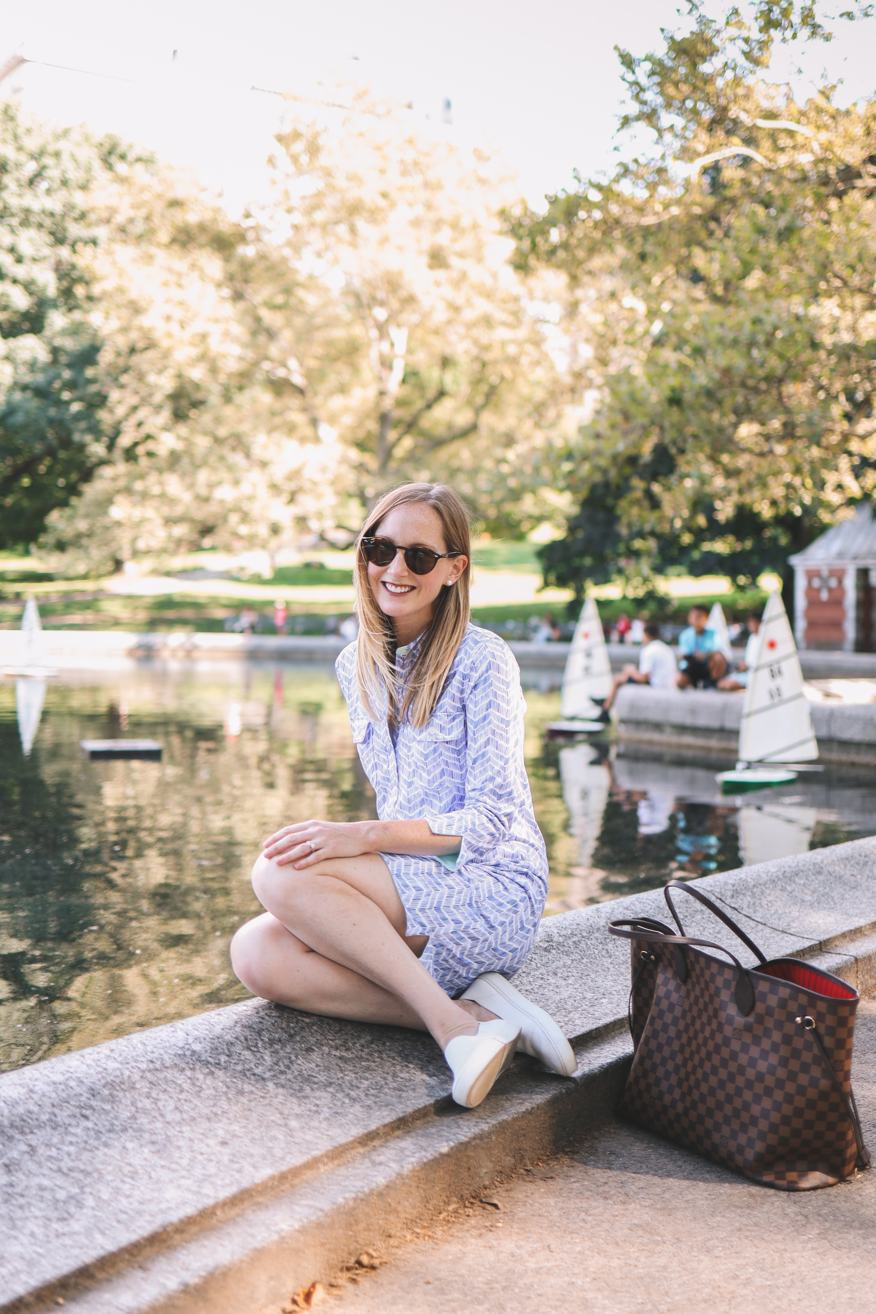 Vineyard Vines dress by the central park ponds