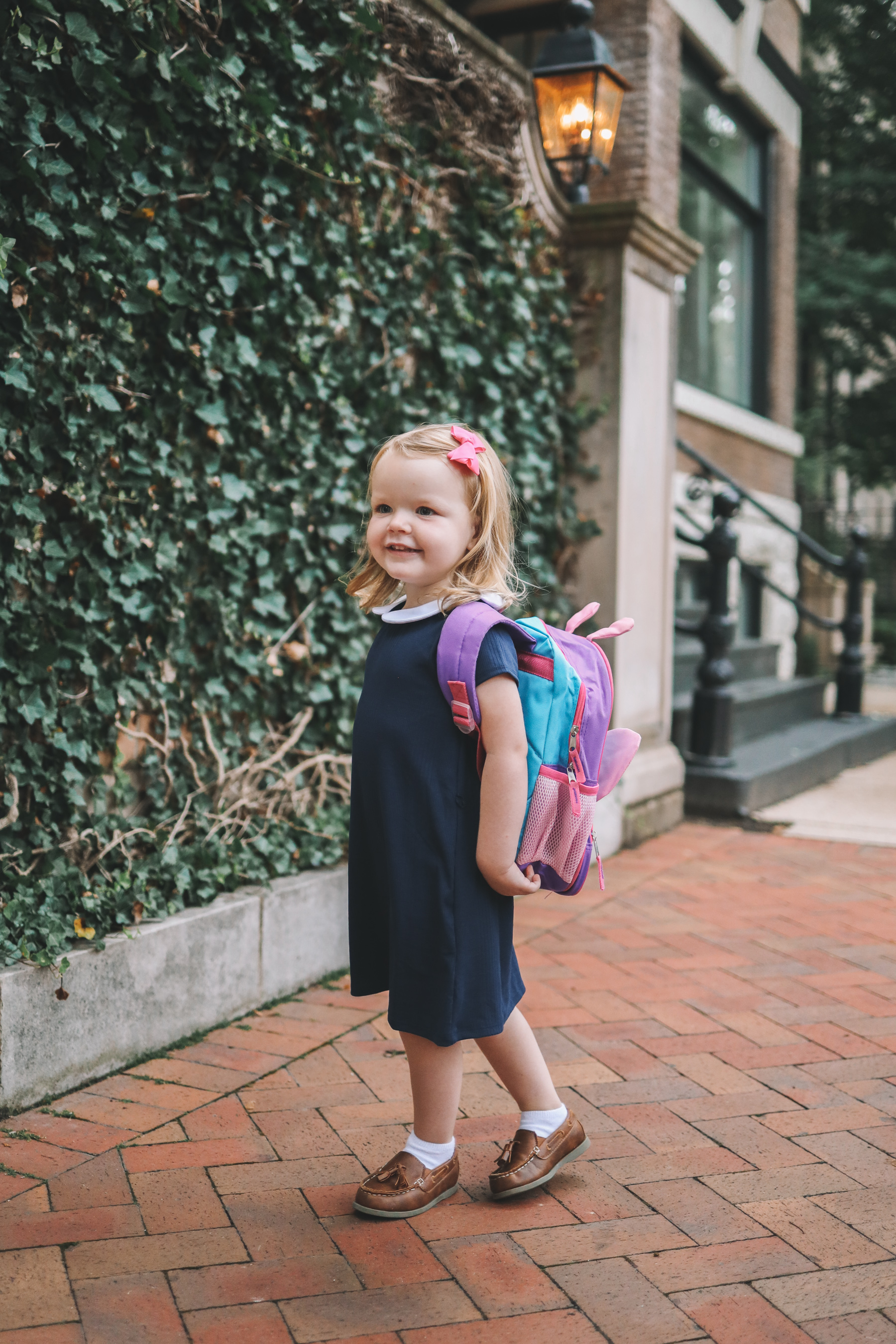 Navy Peter Pan Collar Dress / Toddler Butterfly Backpack / Tons of back-to-school shoes