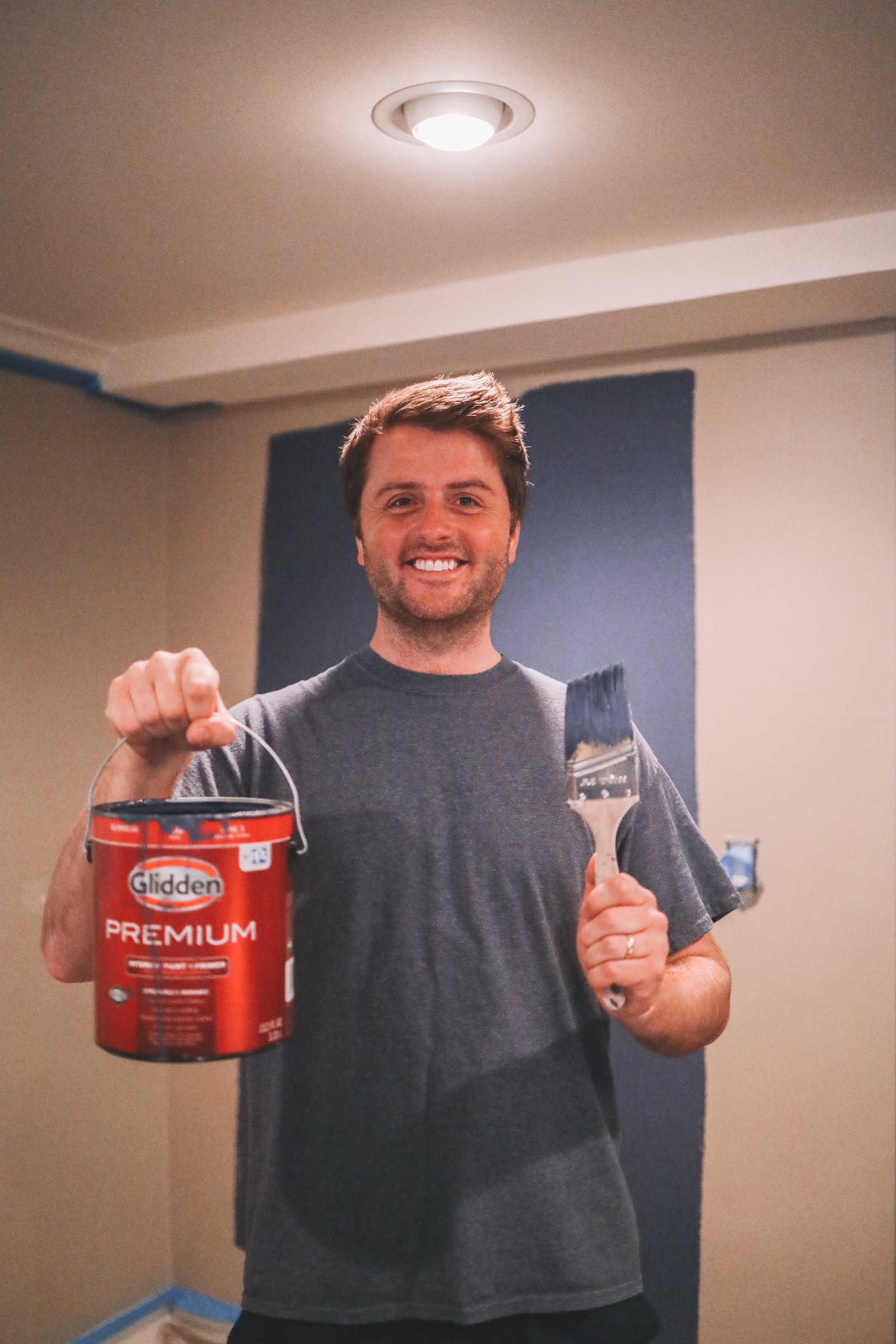 Mitch painting his office navy blue