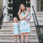a family in floral dresses