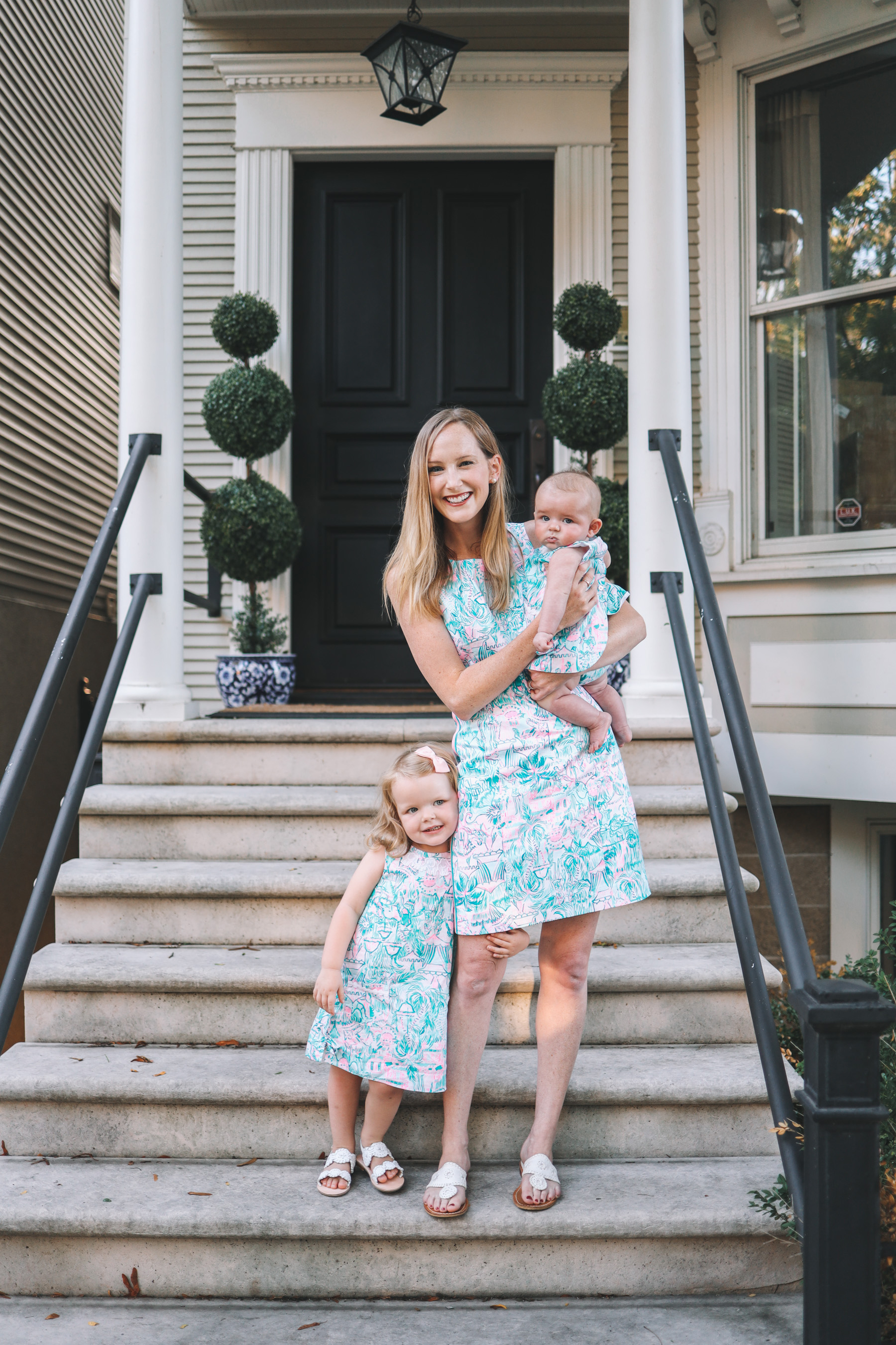 a female family in Lilly Pulitzer After Party Sale dresses