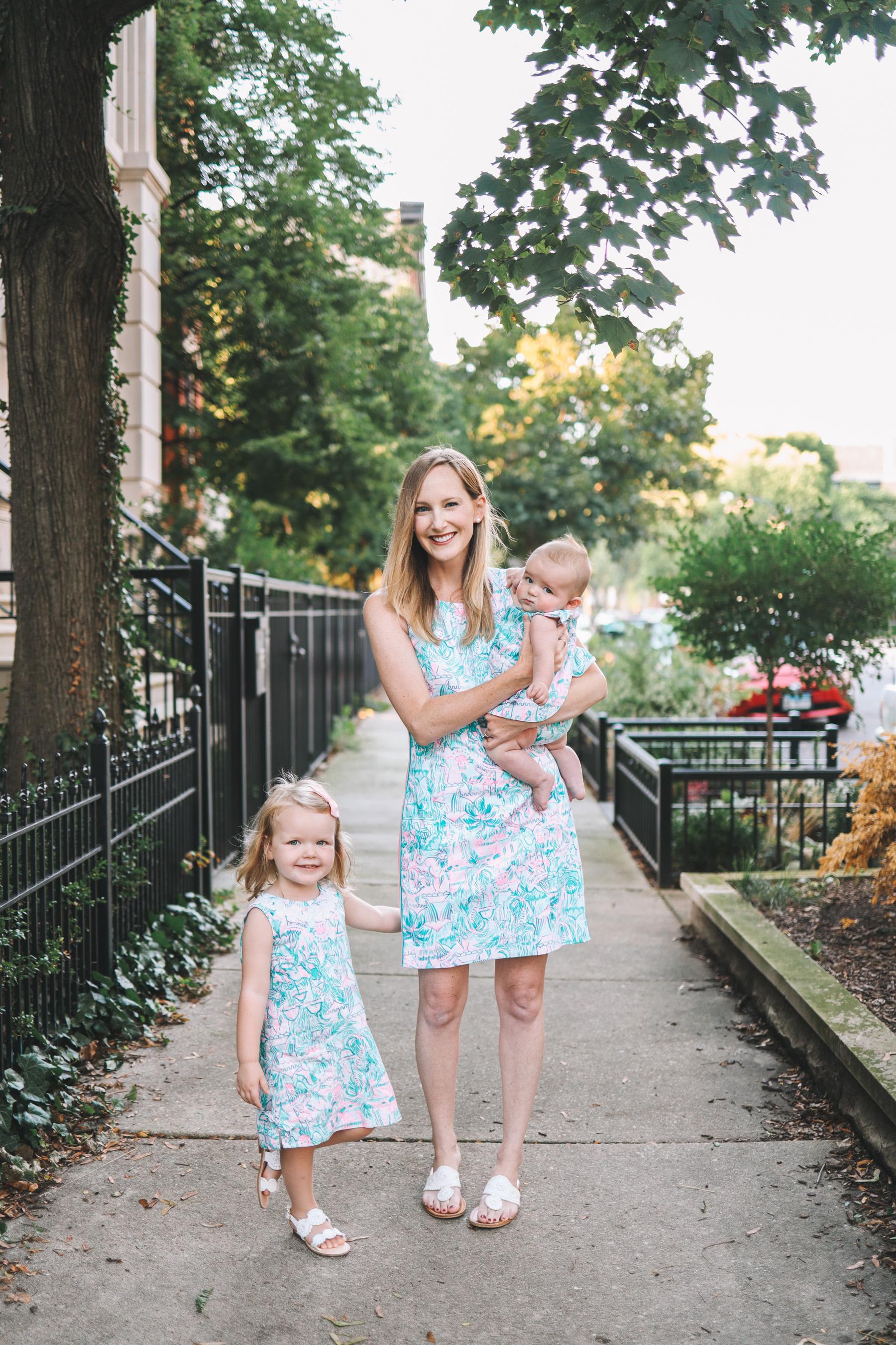 three women in dresses