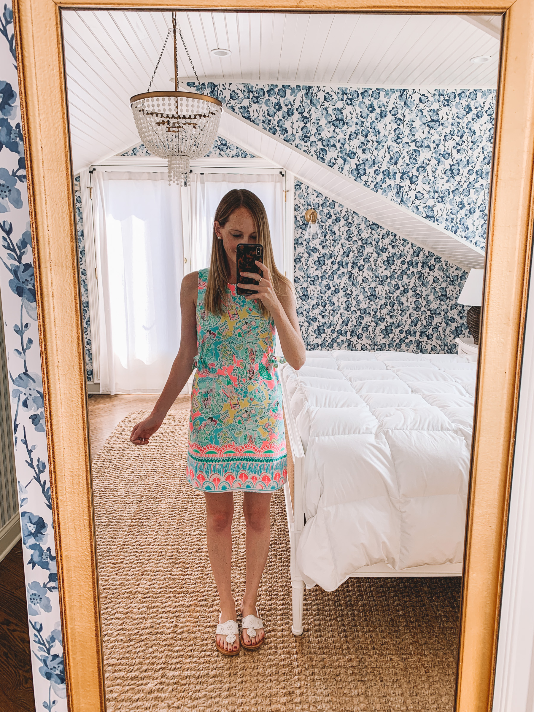 Marli Stretch Shift Dress Print: Multi Pop Up In The Beginning