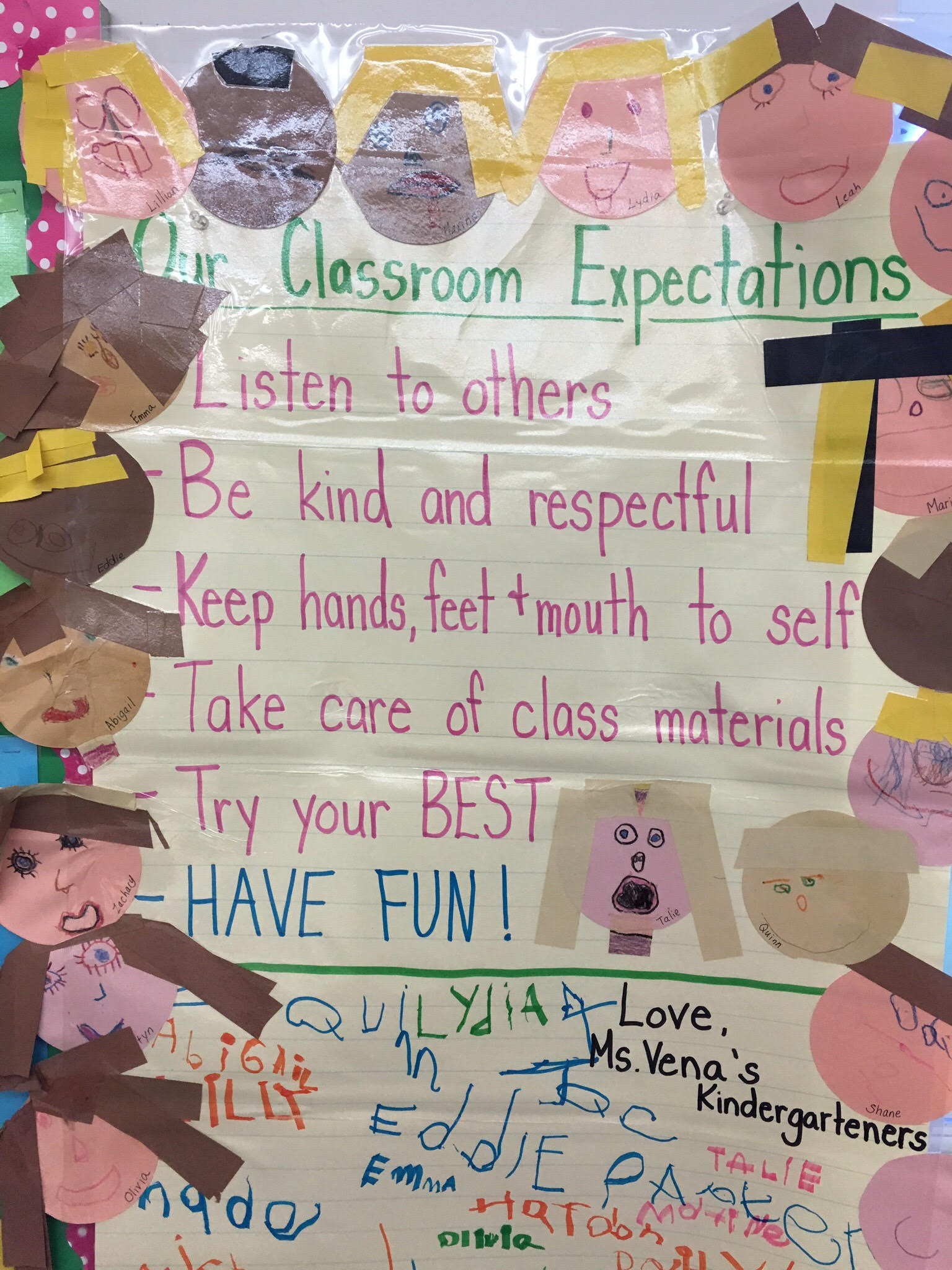 a list of classroom expectations
