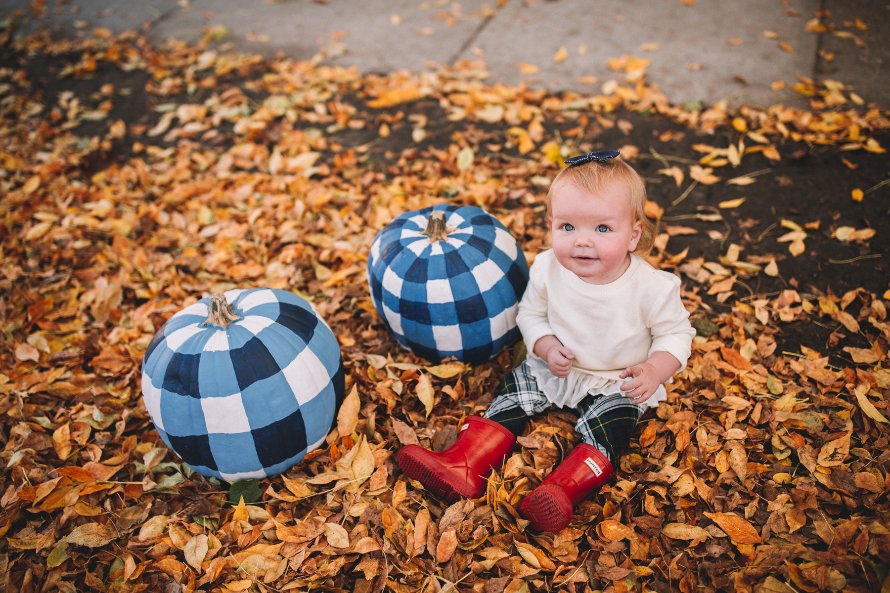 Gingham Pumpkins with baby