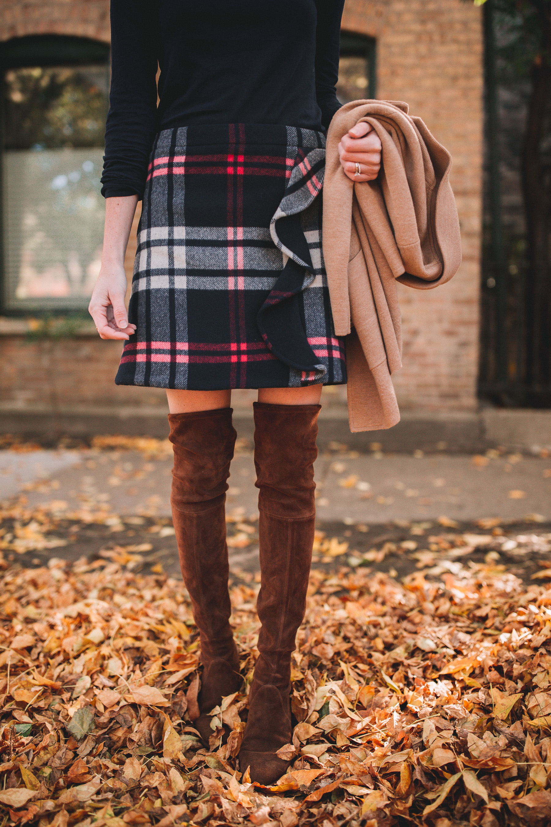 Skirt and boots fall outfit