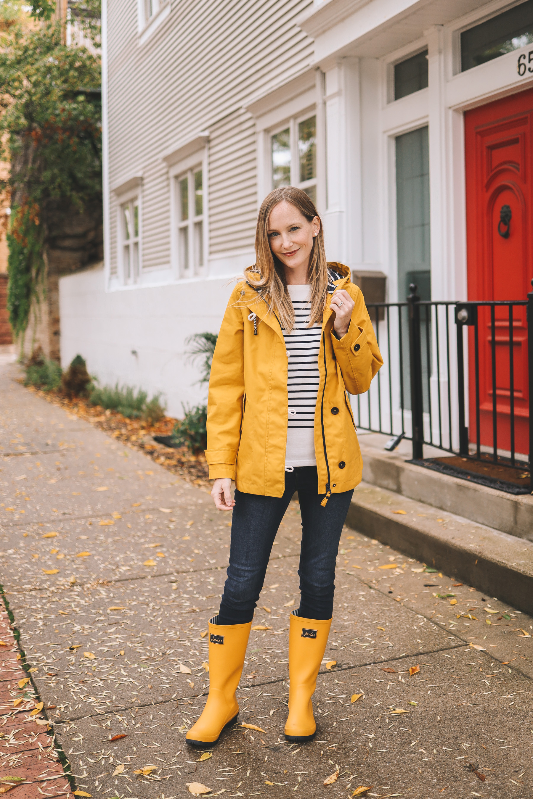 kelly in Joules rain gear