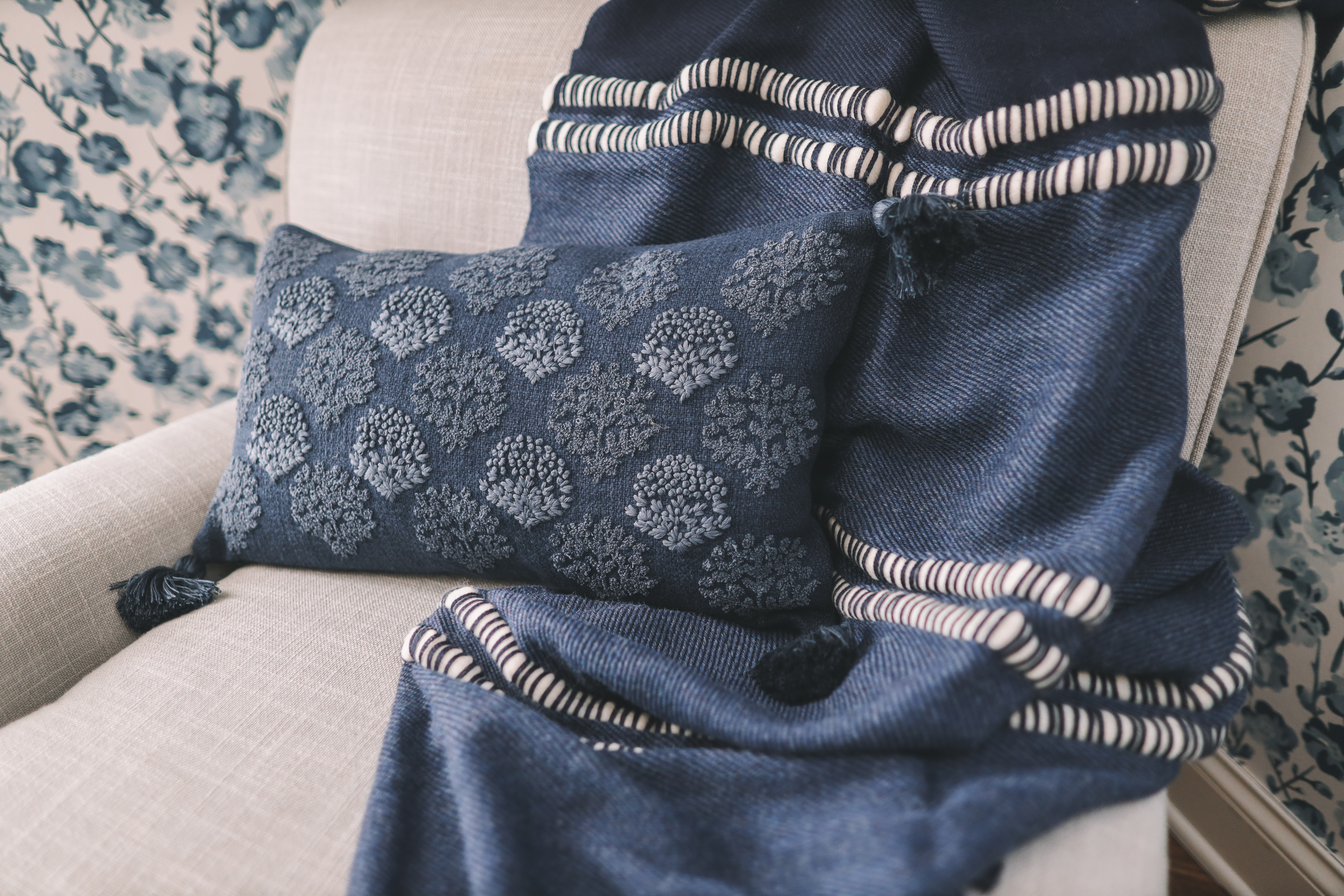 blue pillow - Serena & Lily Friends & Family