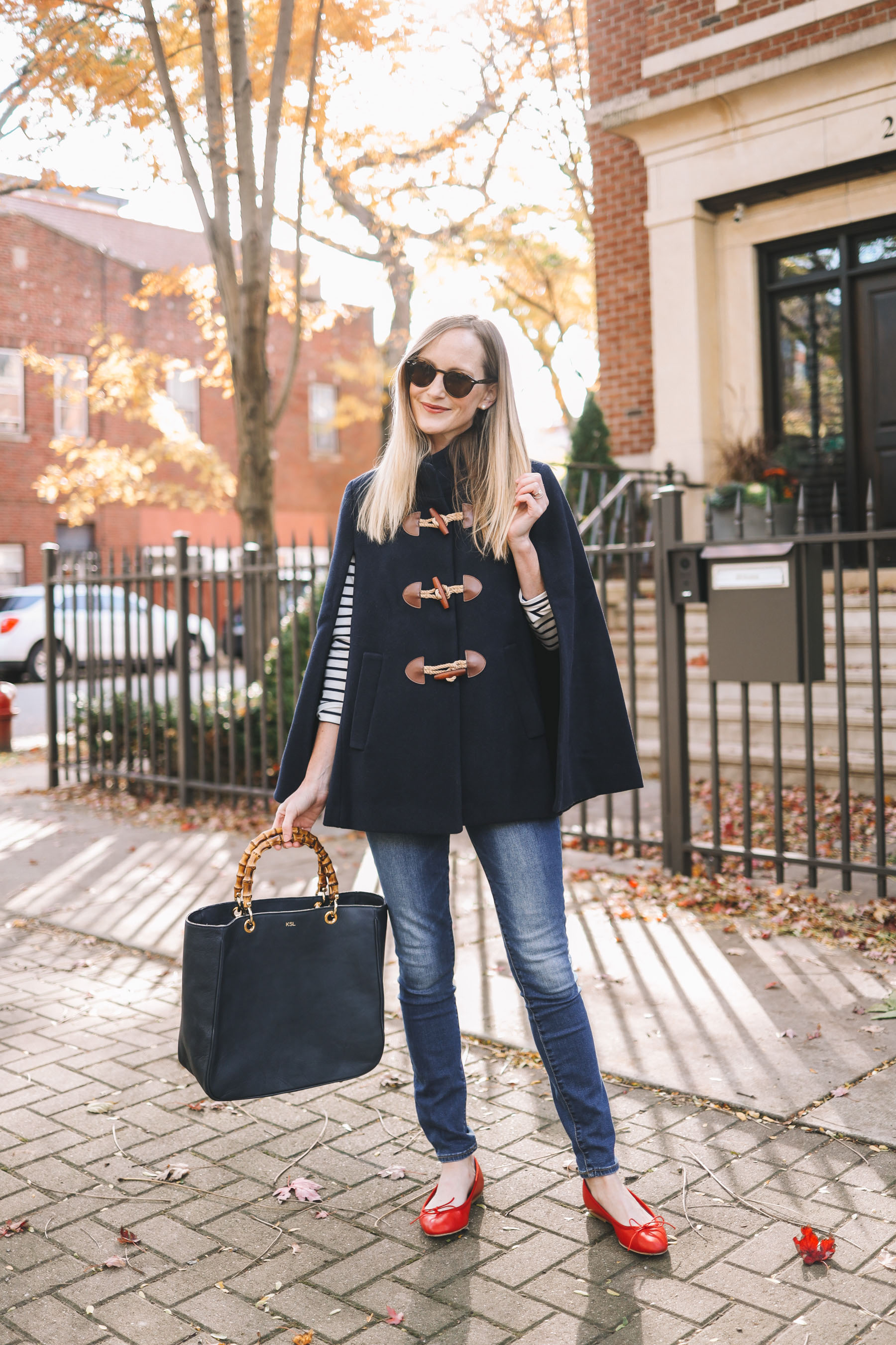 fall outfit Navy Toggle Cape