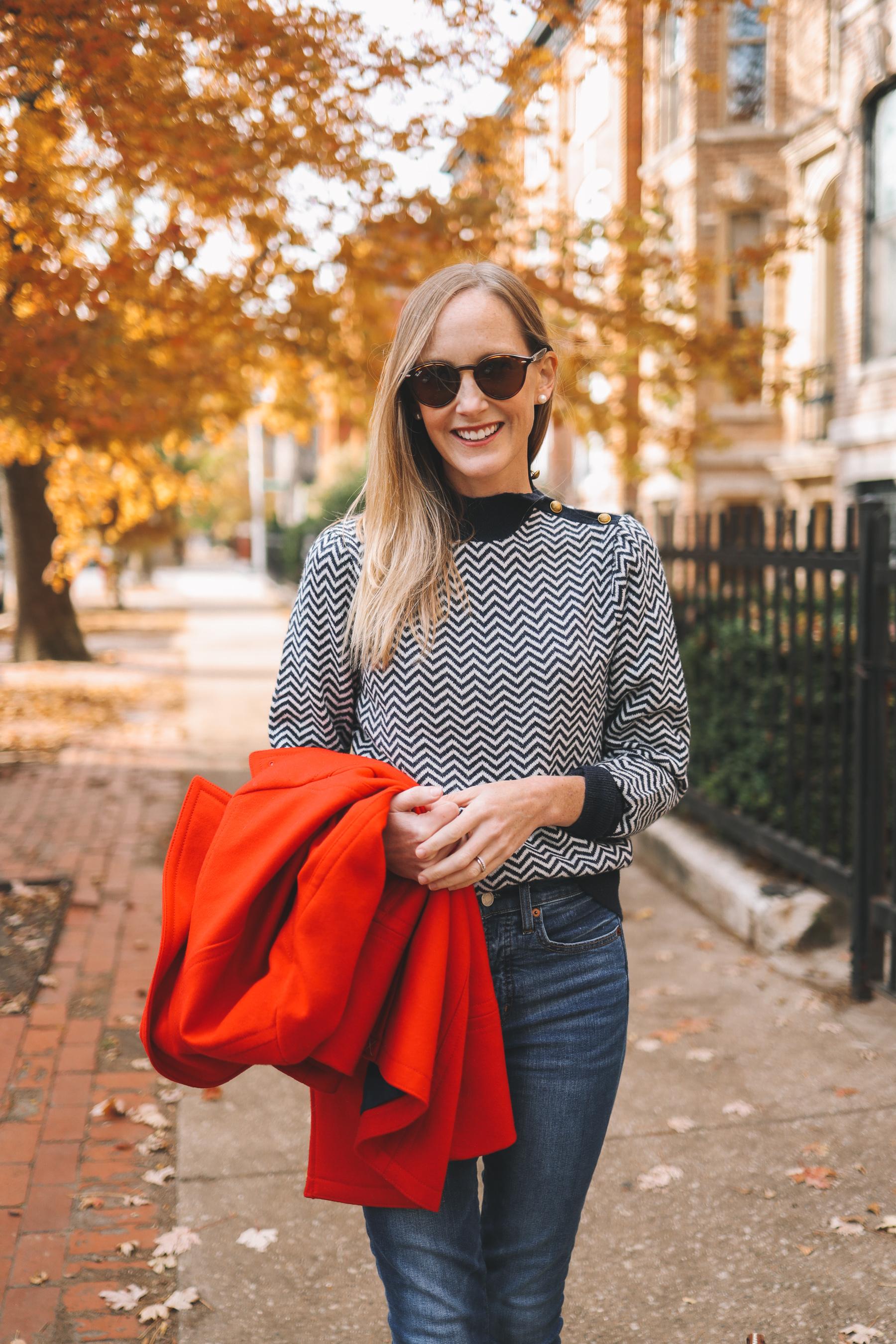 Navy Herringbone Sweater for fall