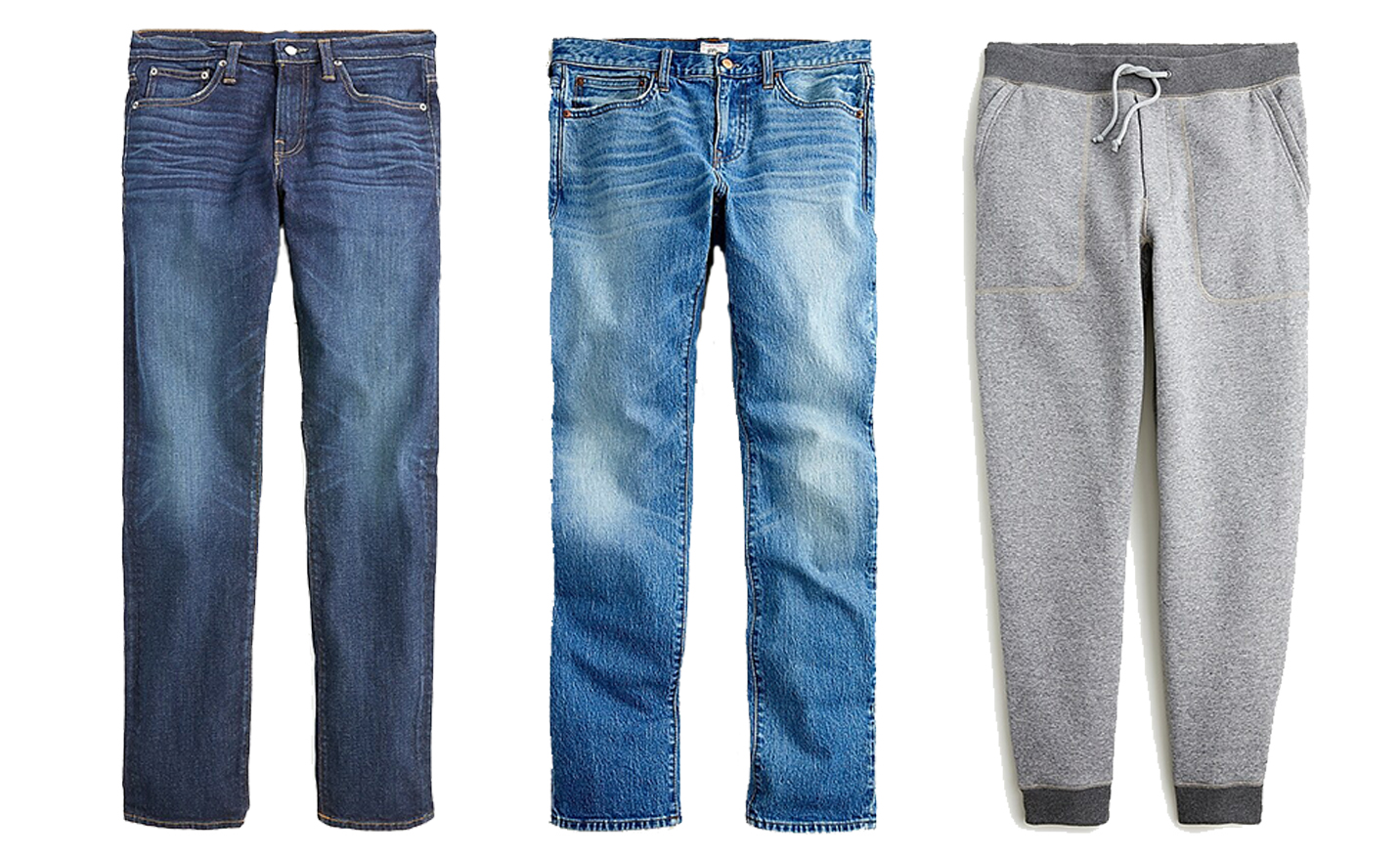Casual Pants: Dark Wash Jeans / Light Wash Jeans / Joggers