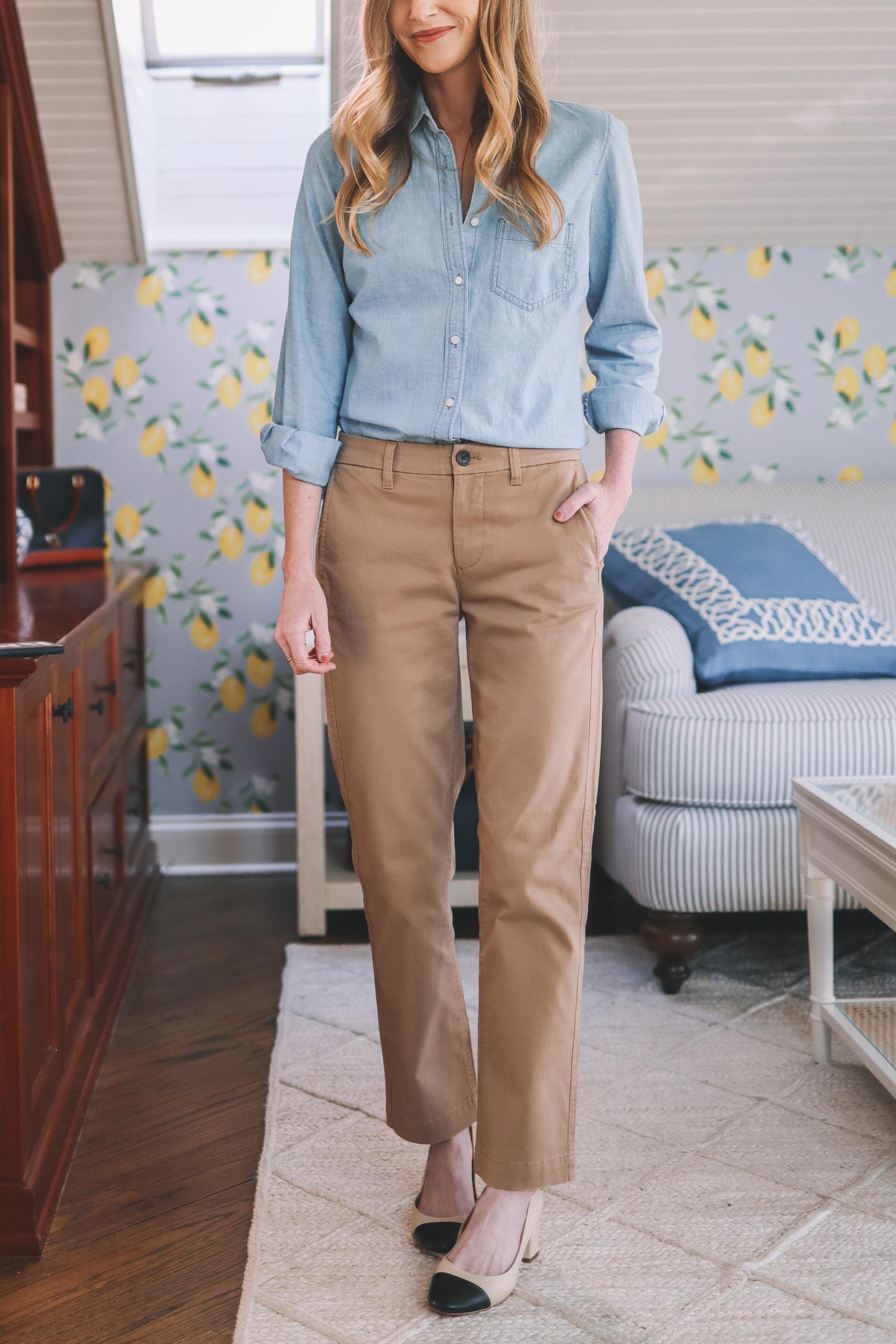 High-Rise Khaki Pants styled 3 ways