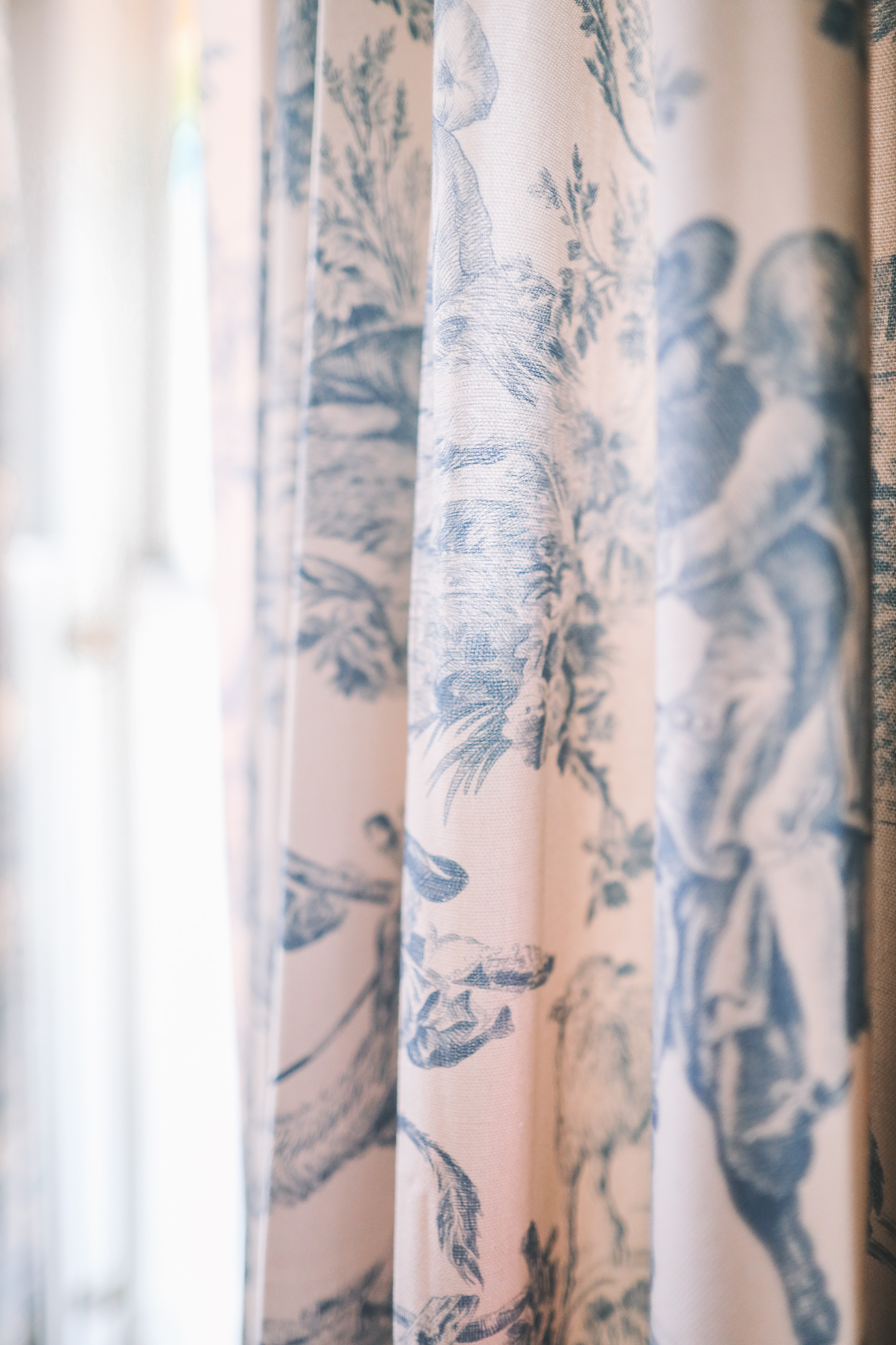 toile curtain panels in blue