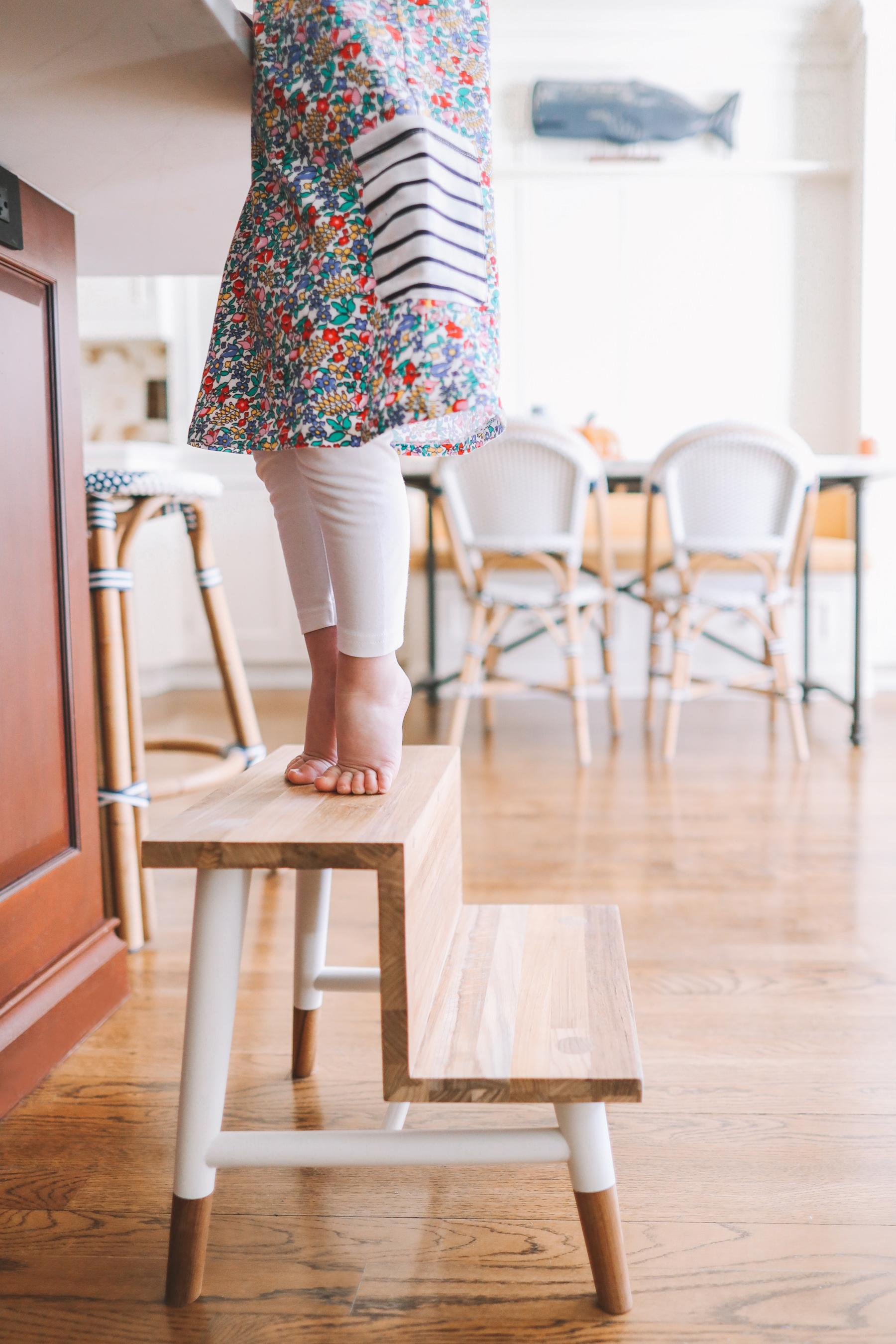Teak step stool